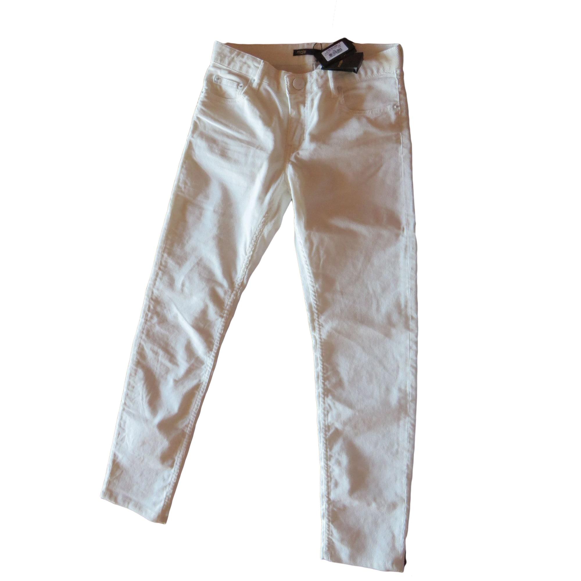 Jeans droit MAJE Blanc, blanc cassé, écru