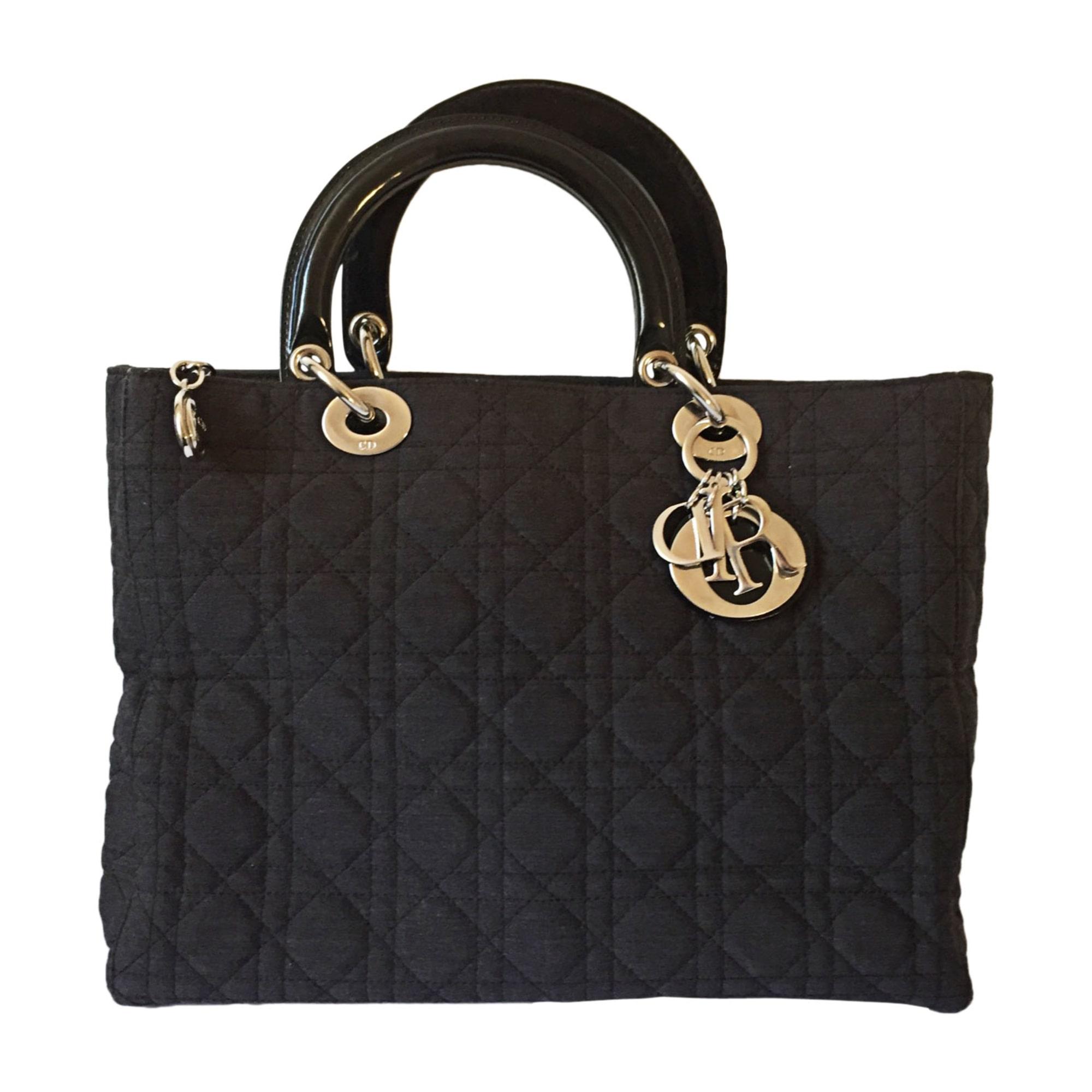 f009e93353 Sac à main en tissu DIOR lady dior noir - 8393846