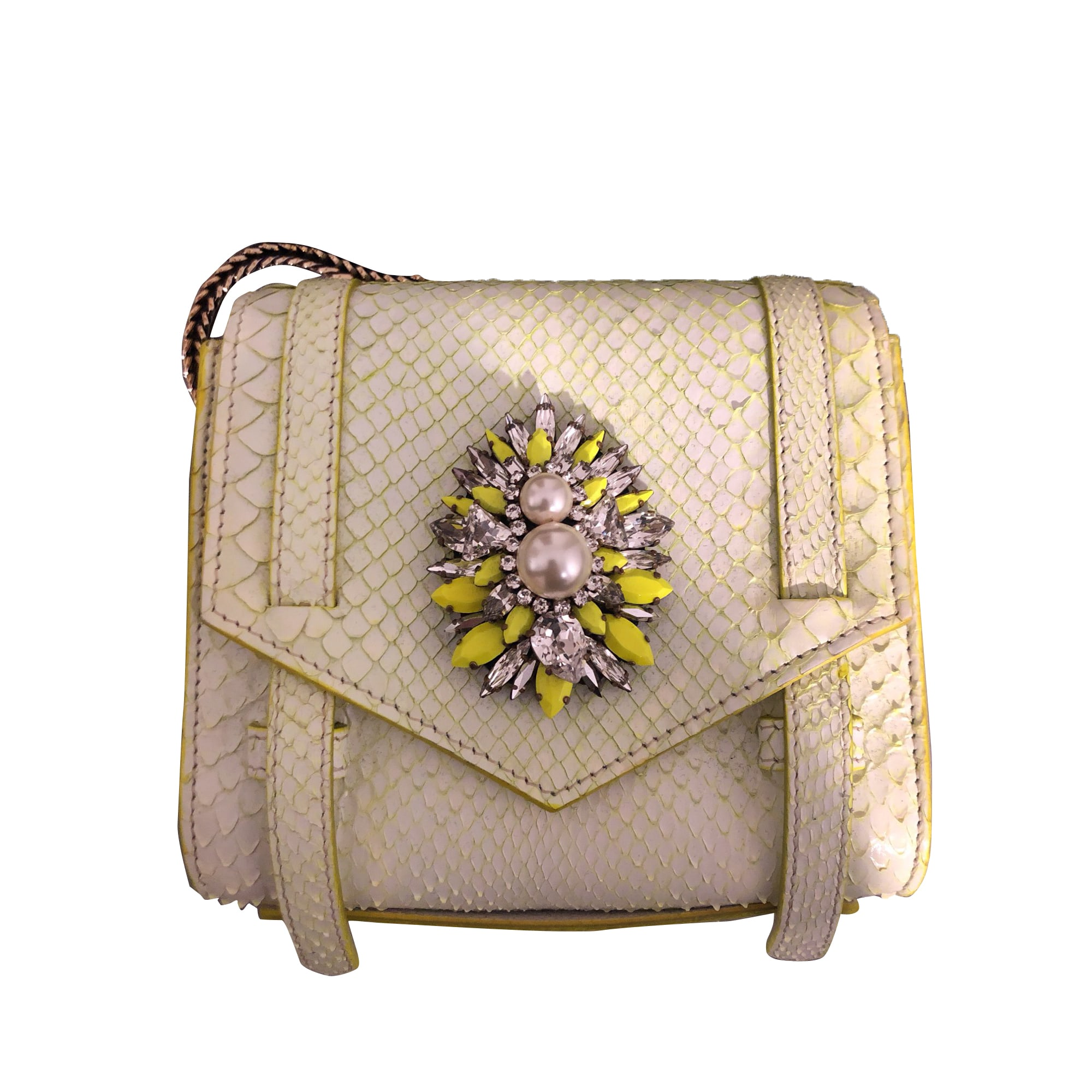 Leather Shoulder Bag SHOUROUK White, off-white, ecru
