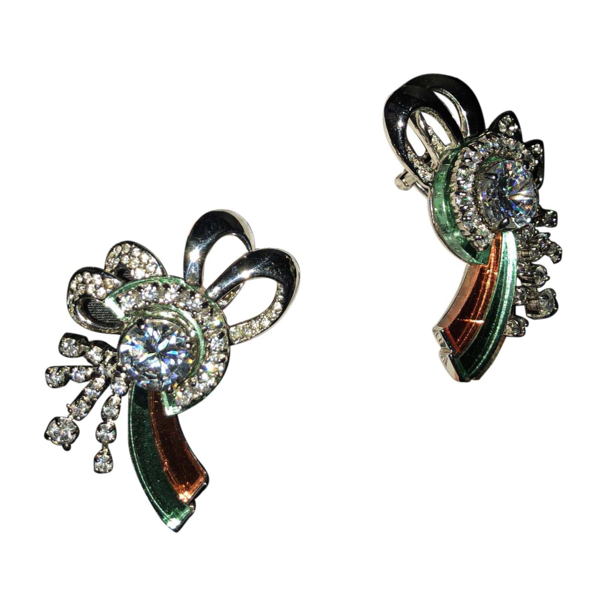 Boucles d'oreilles MIU MIU plaqué argent multicolore