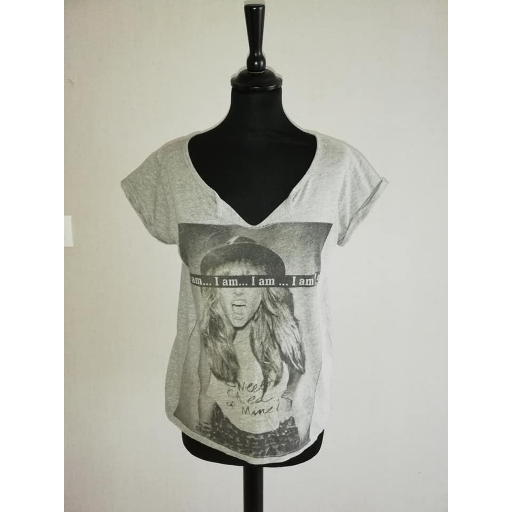 Top, tee-shirt BERSHKA Gris, anthracite