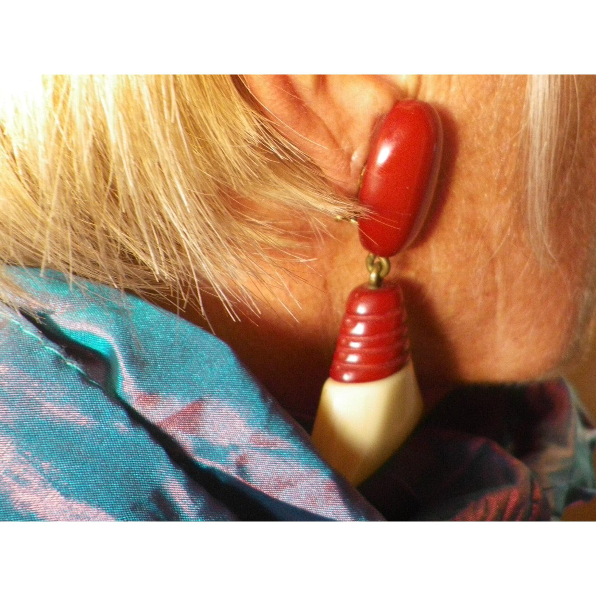 Boucles d'oreille DOMINIQUE DENAIVE résine multicolore