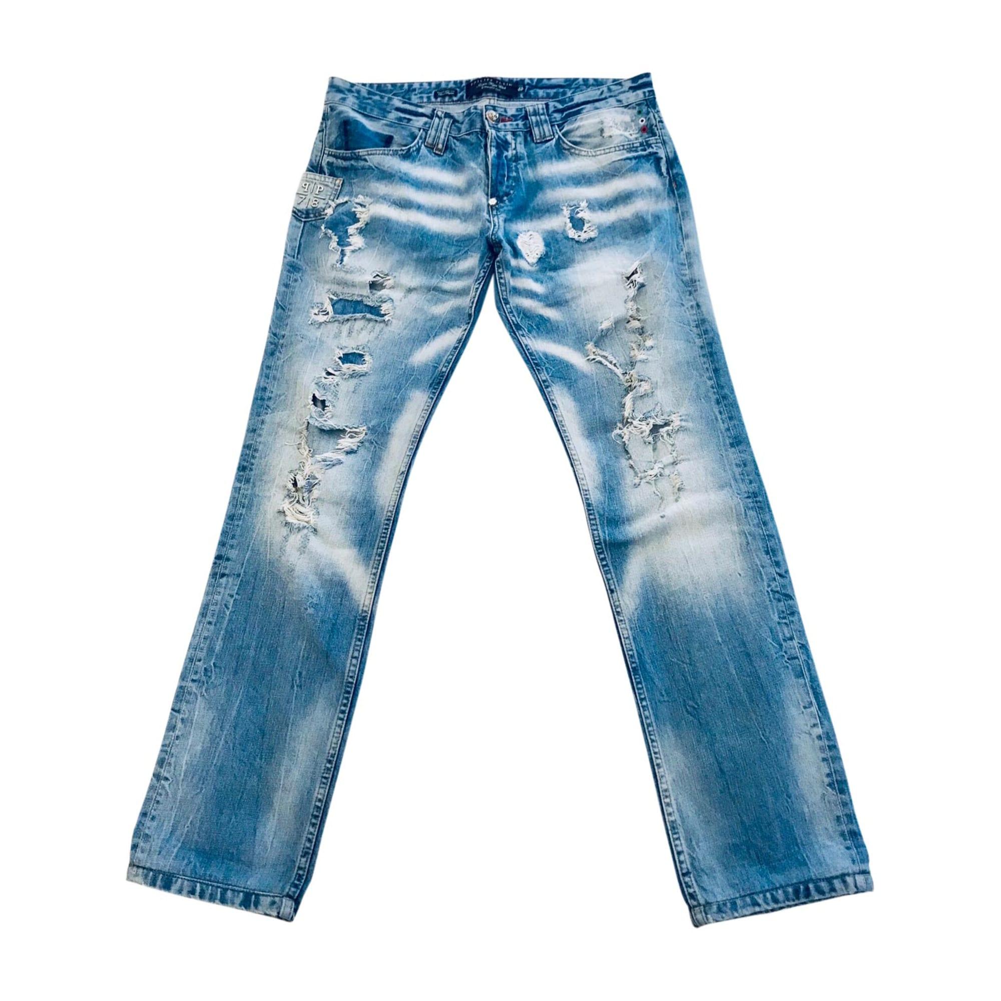 Jeans droit PHILIPP PLEIN Bleu, bleu marine, bleu turquoise