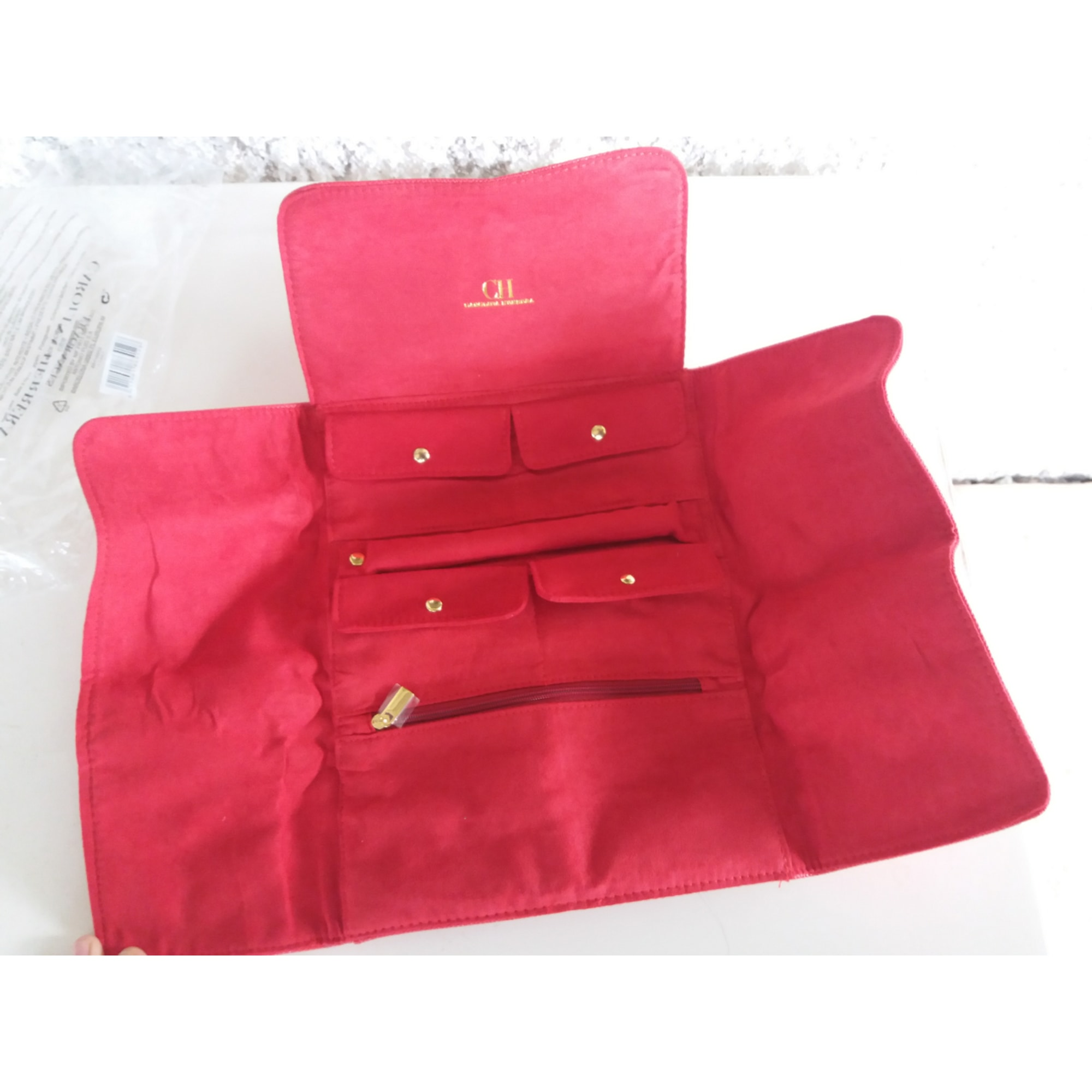 Sacoche CAROLINA HERRERA simili cuir verni rouge