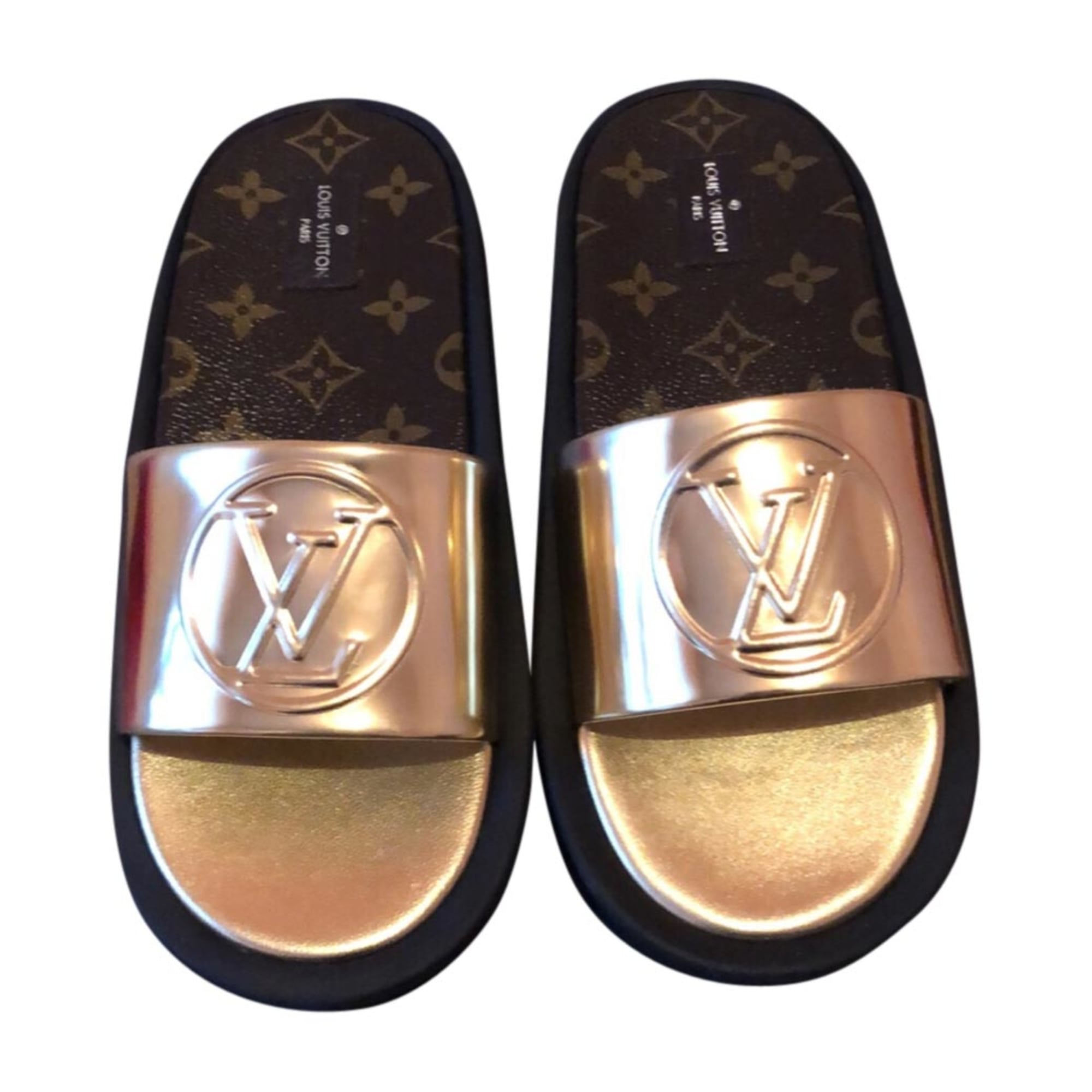 Flat Sandals LOUIS VUITTON Golden, bronze, copper