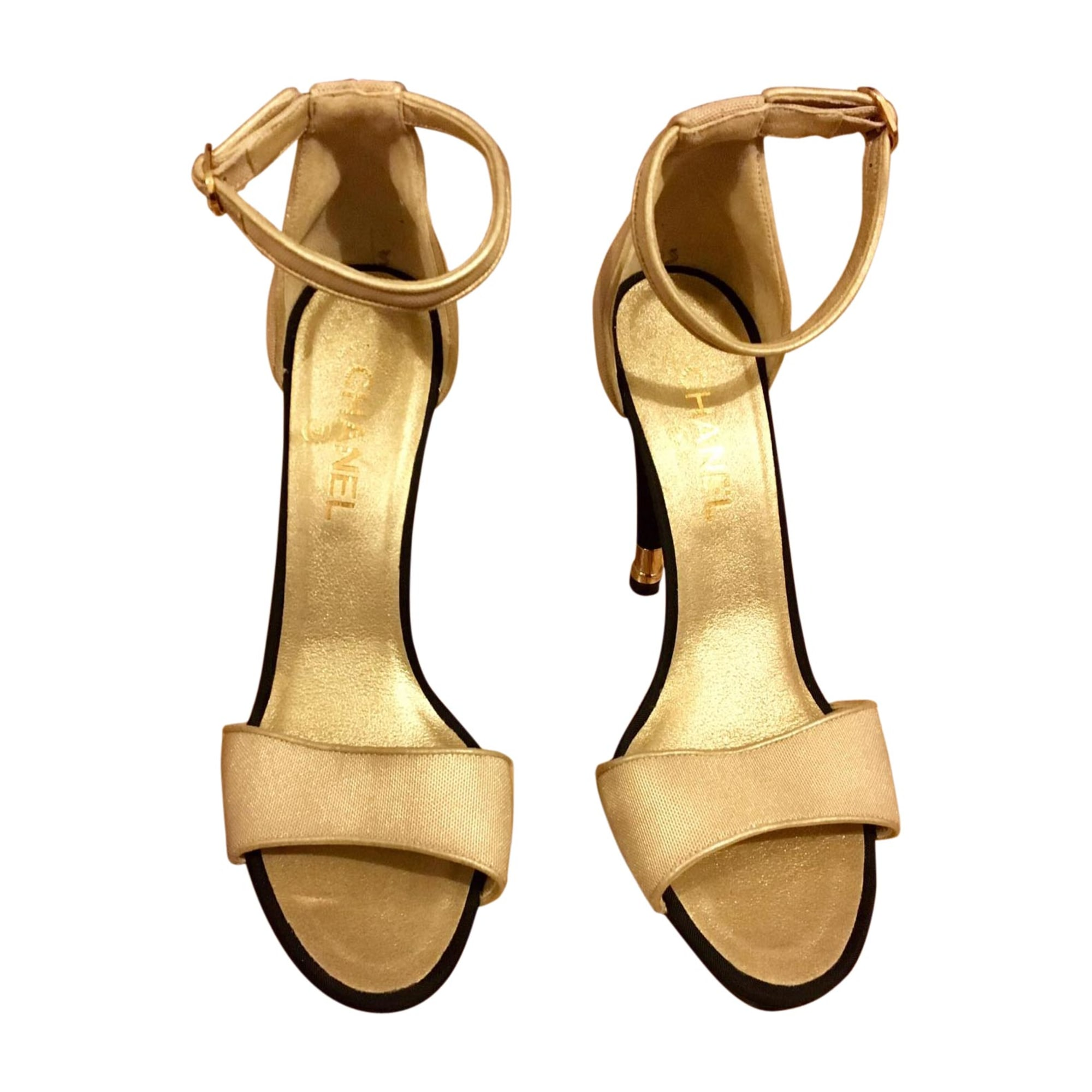 Heeled Sandals CHANEL Golden, bronze, copper