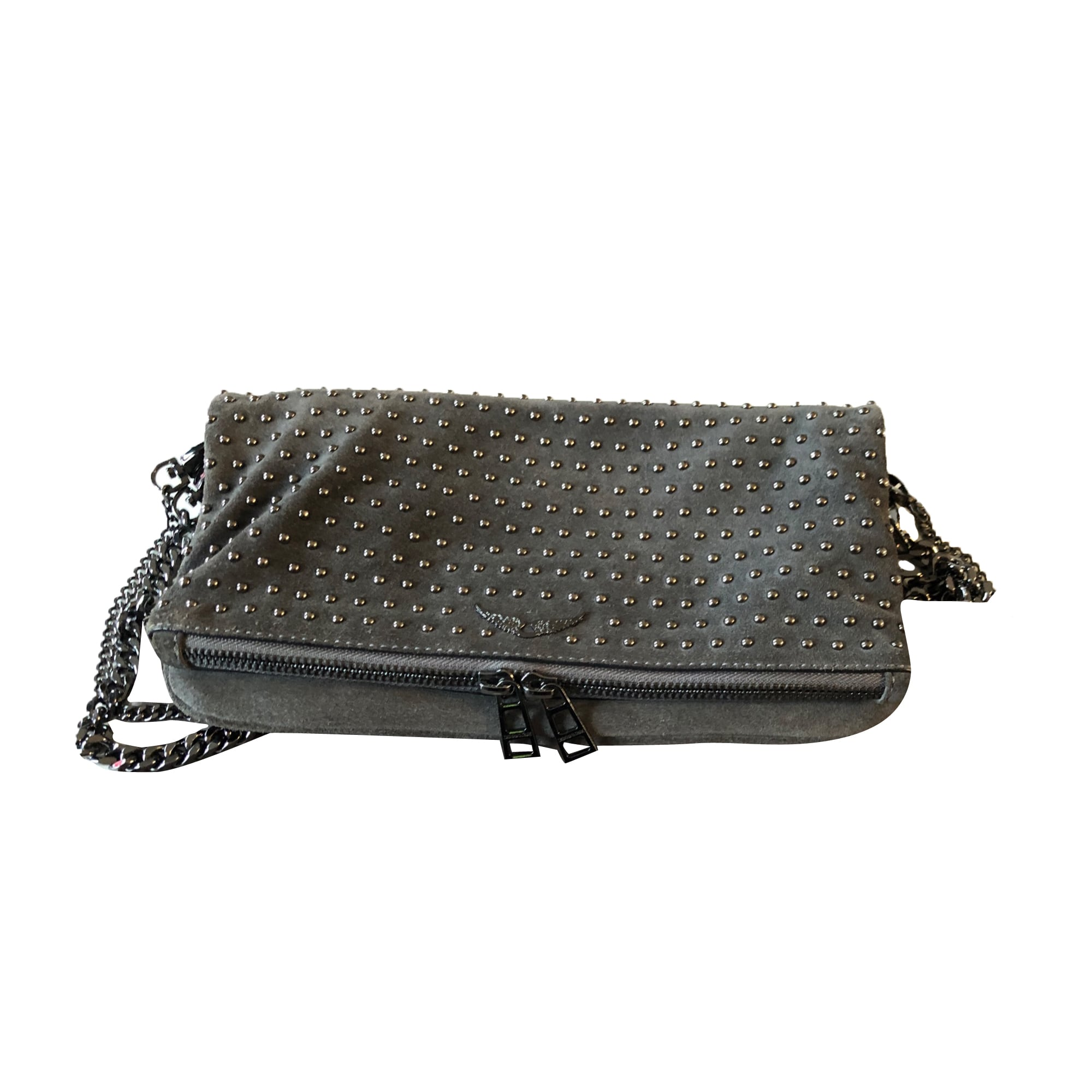 Leather Clutch ZADIG & VOLTAIRE Gray, charcoal