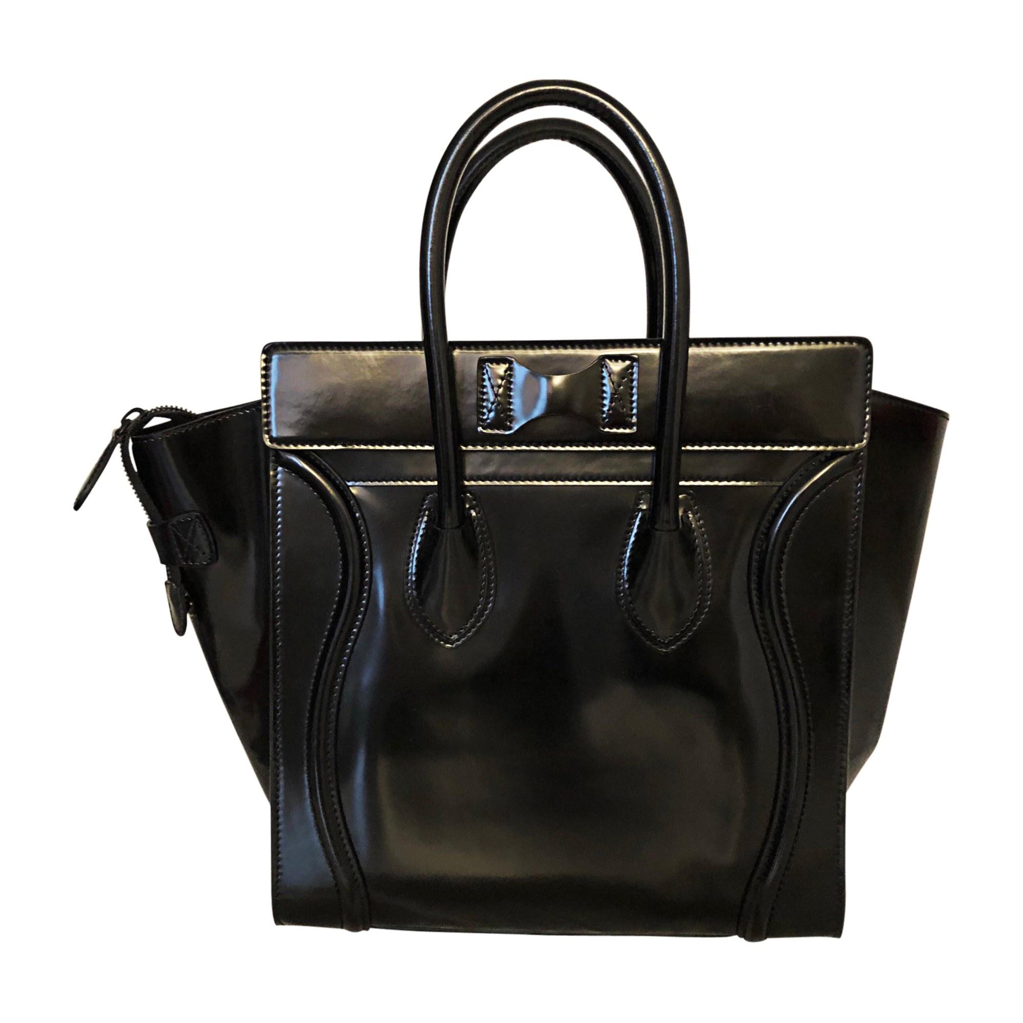 Sac à main en cuir CÉLINE Luggage Noir