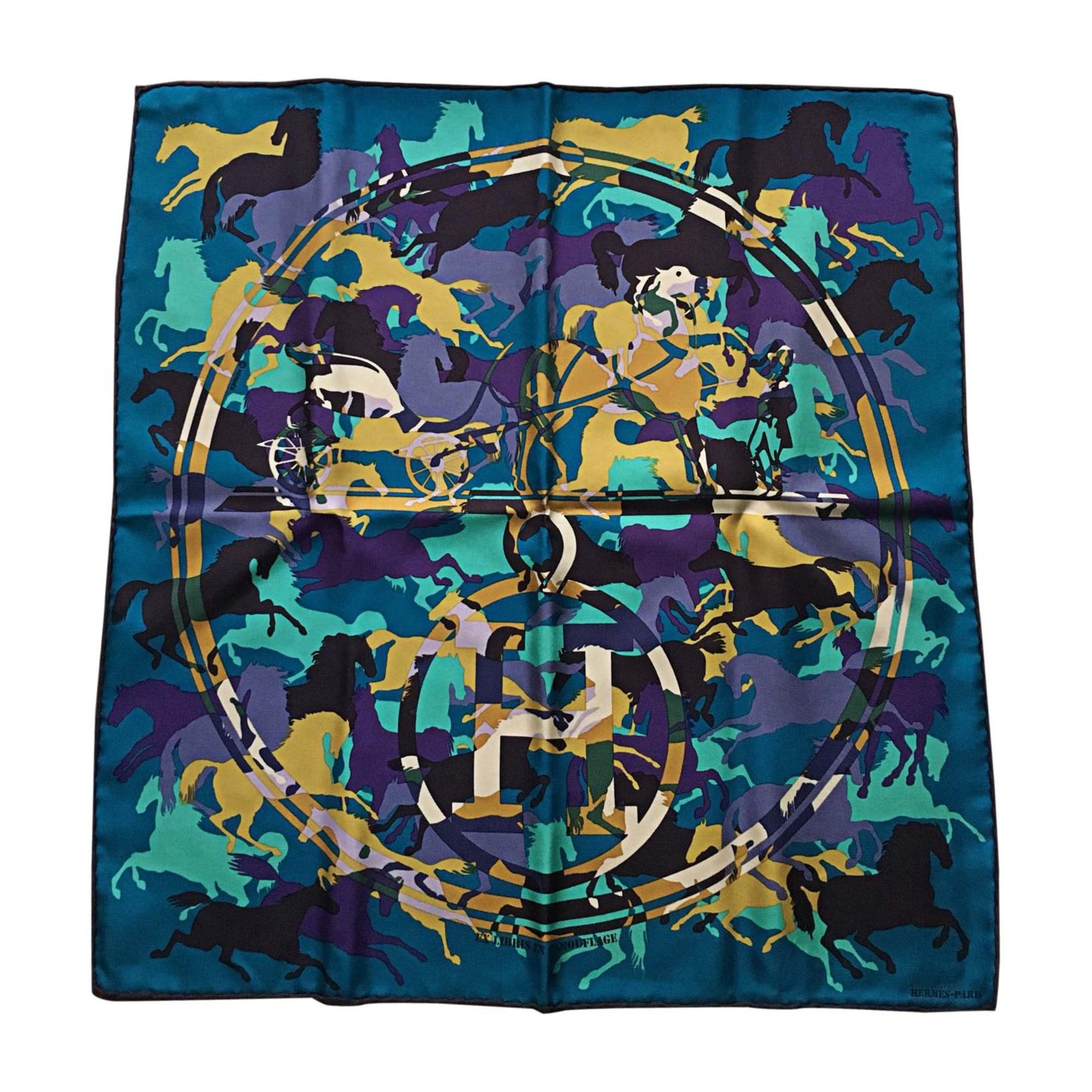 Silk Scarf HERMÈS Blue, navy, turquoise