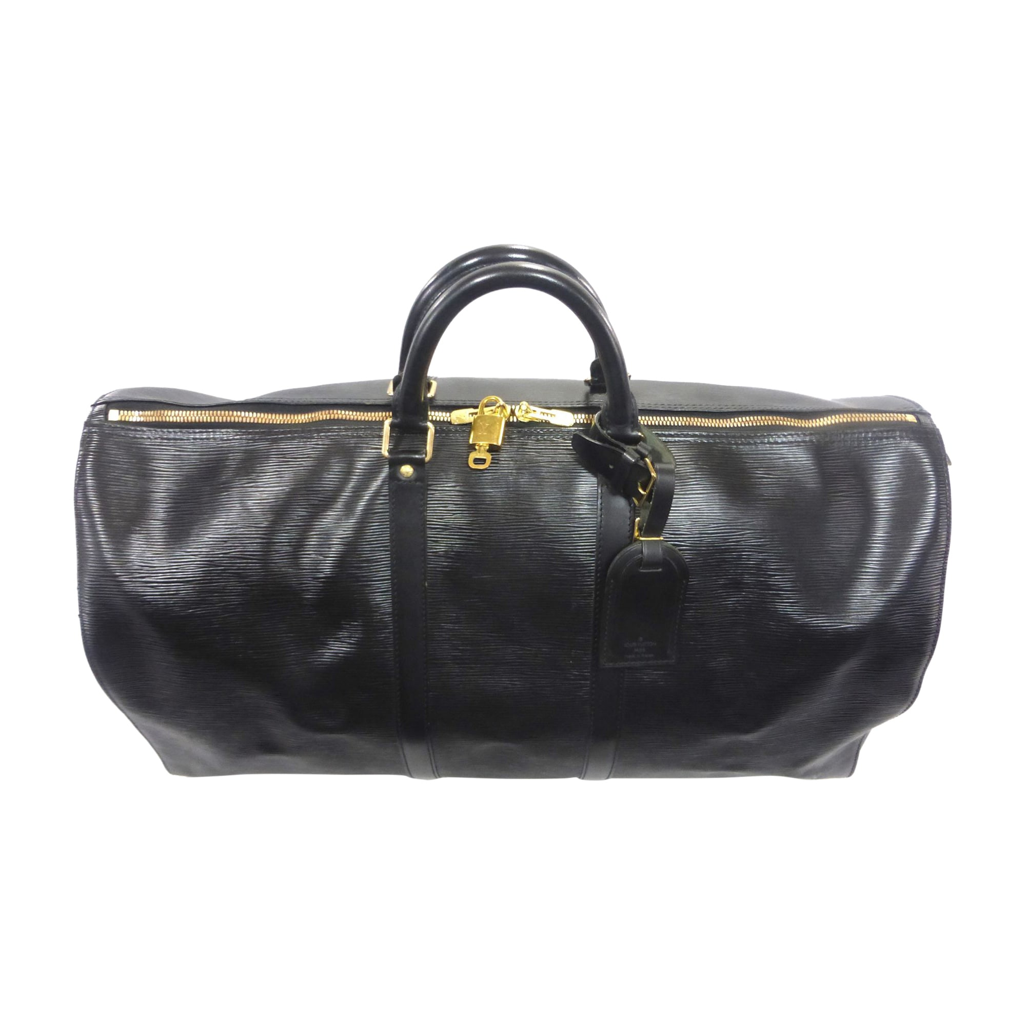 Leather Oversize Bag LOUIS VUITTON Keepall Black