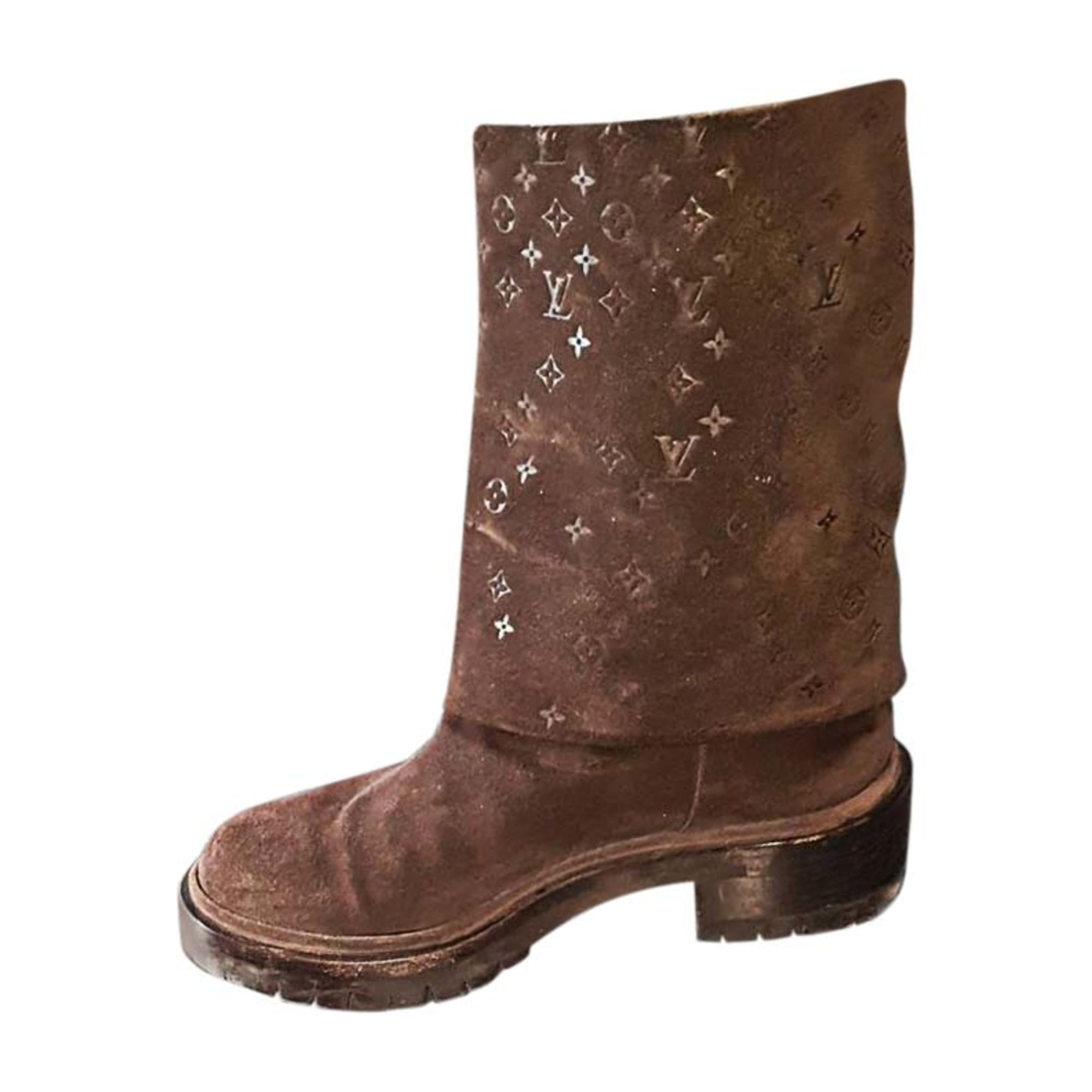 Biker Ankle Boots LOUIS VUITTON Brown