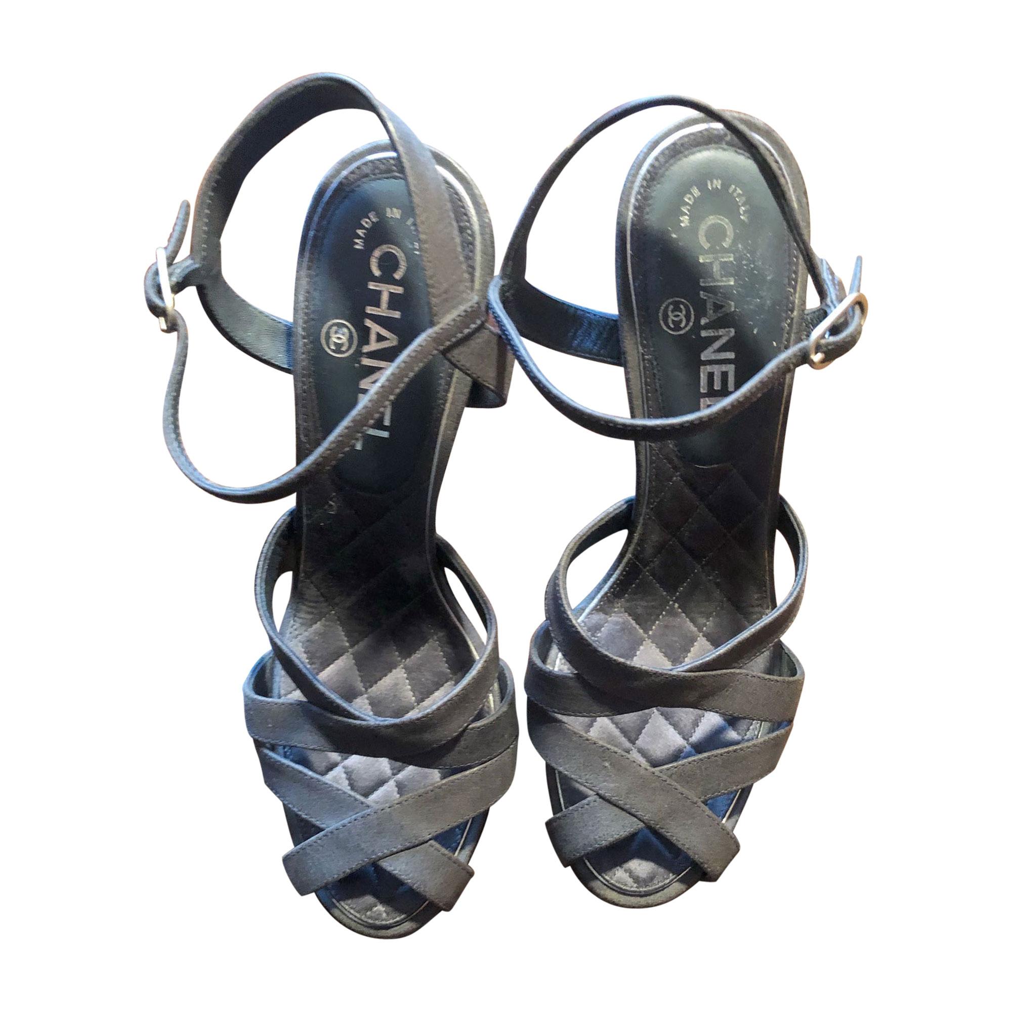 Peep-Toe Pumps CHANEL Gray, charcoal