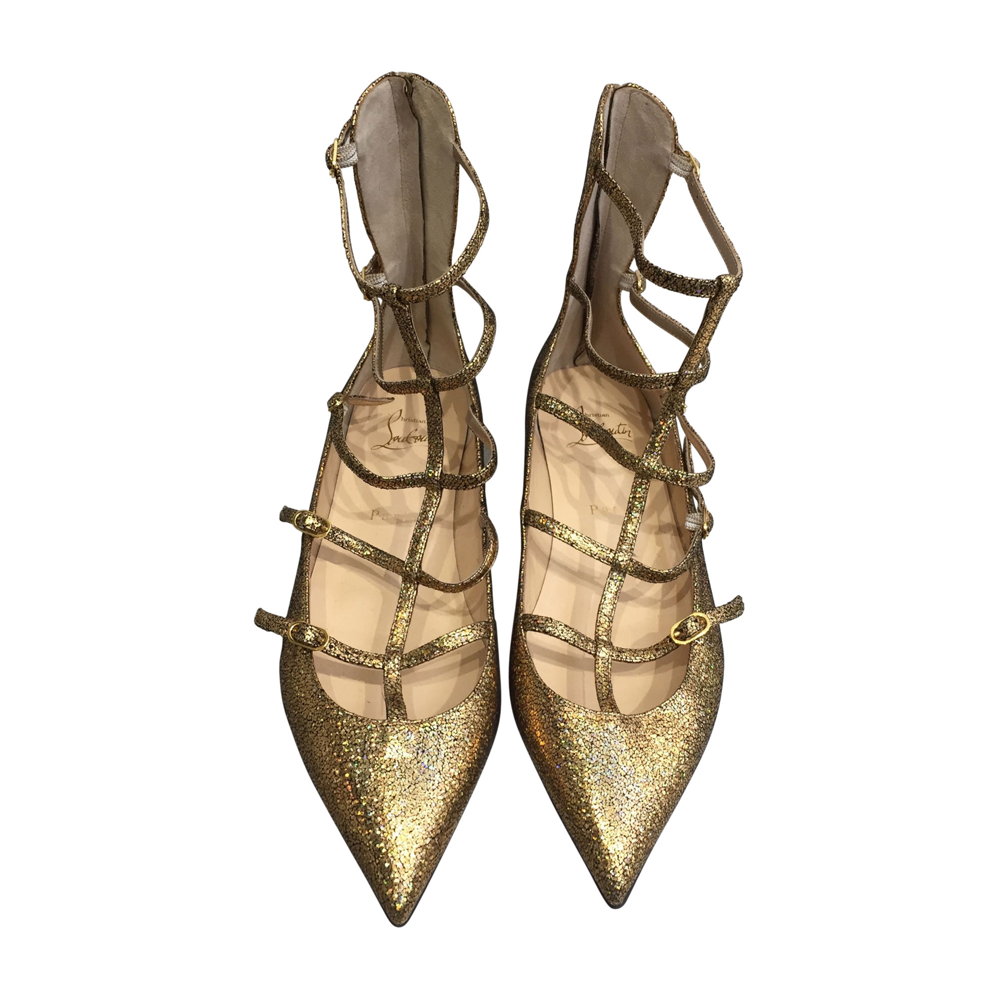 Ballet Flats CHRISTIAN LOUBOUTIN Golden, bronze, copper