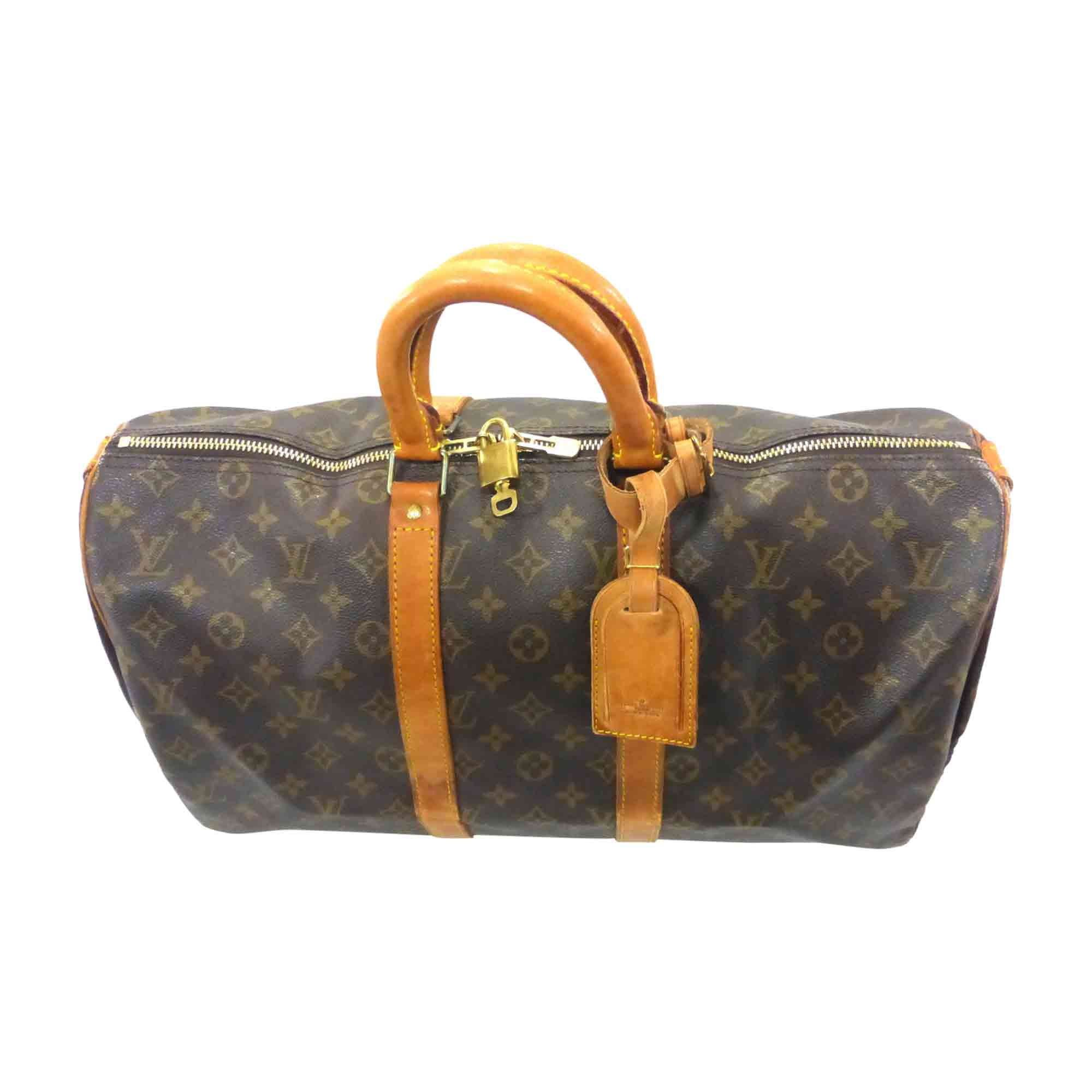 Leather Oversize Bag LOUIS VUITTON Keepall Brown