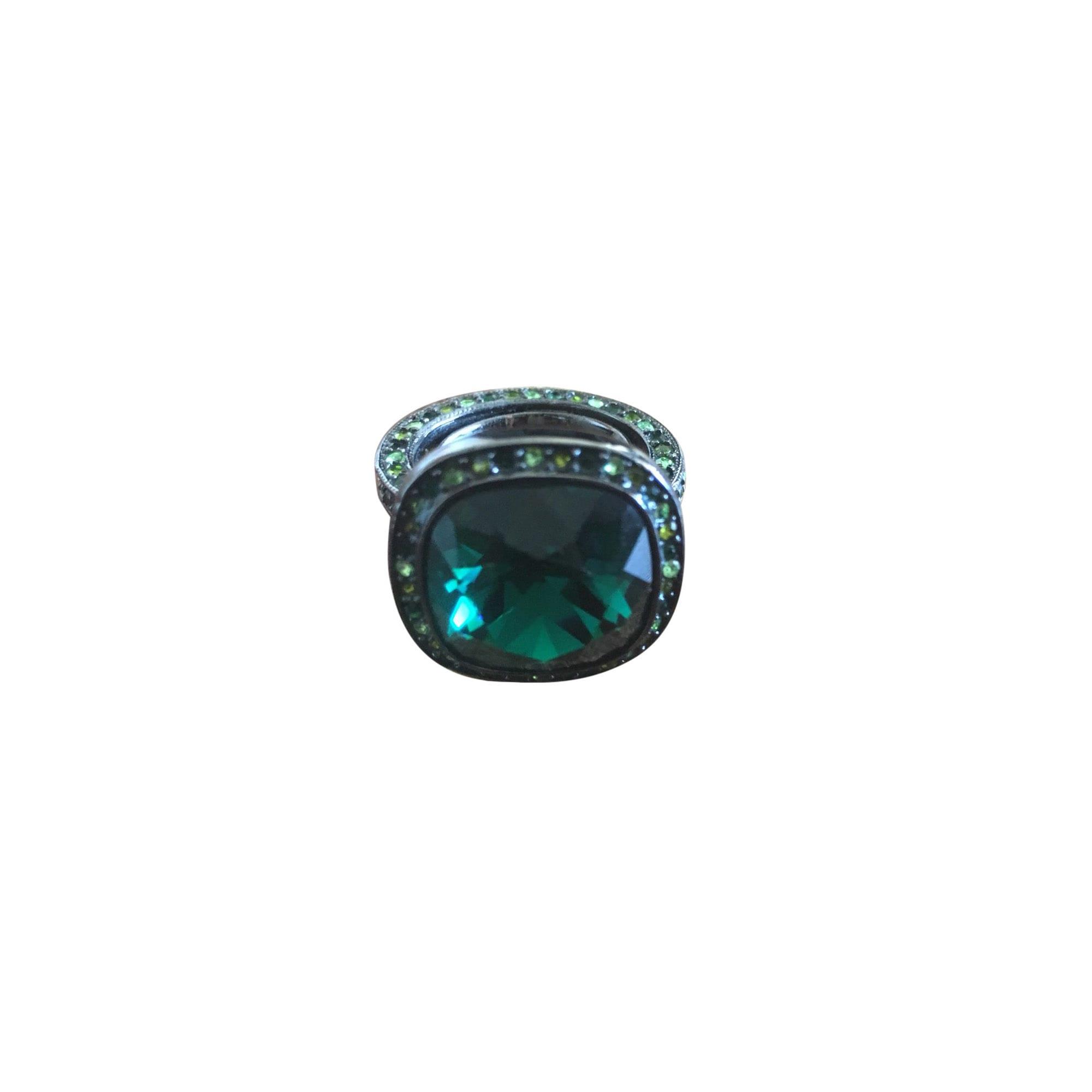 Bague KENNETH JAY LANE chrome vert Adjustable size