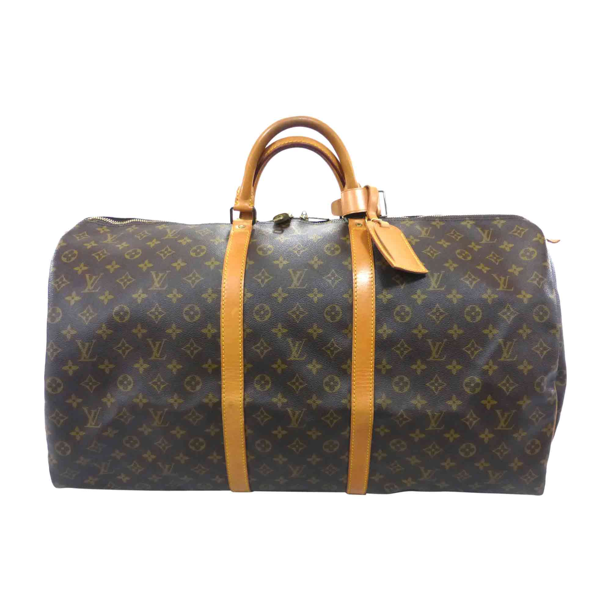 Ledertasche groß LOUIS VUITTON Keepall Braun