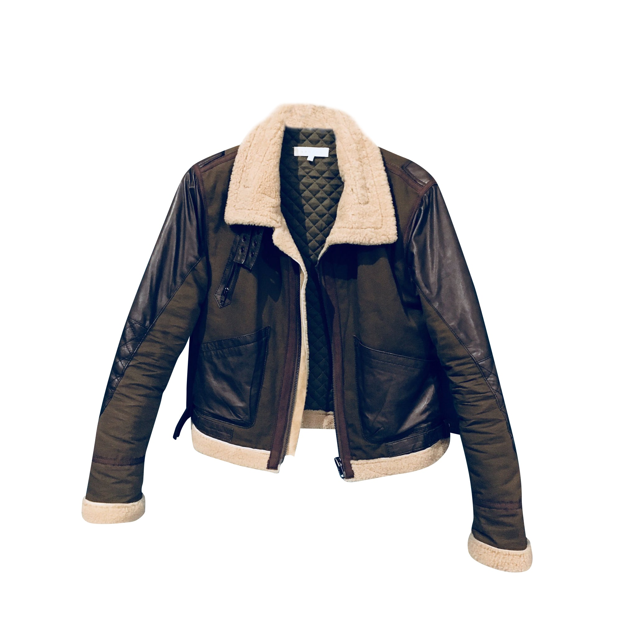 Manteau en cuir SANDRO Marron