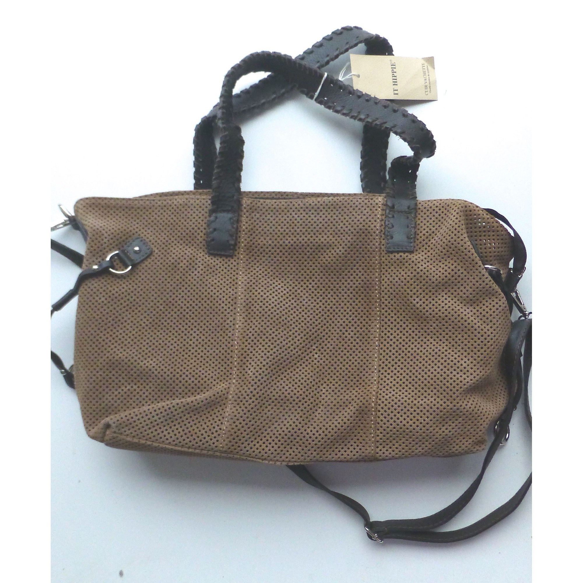 Sac à main en cuir IT HIPPIE  nubuck beige