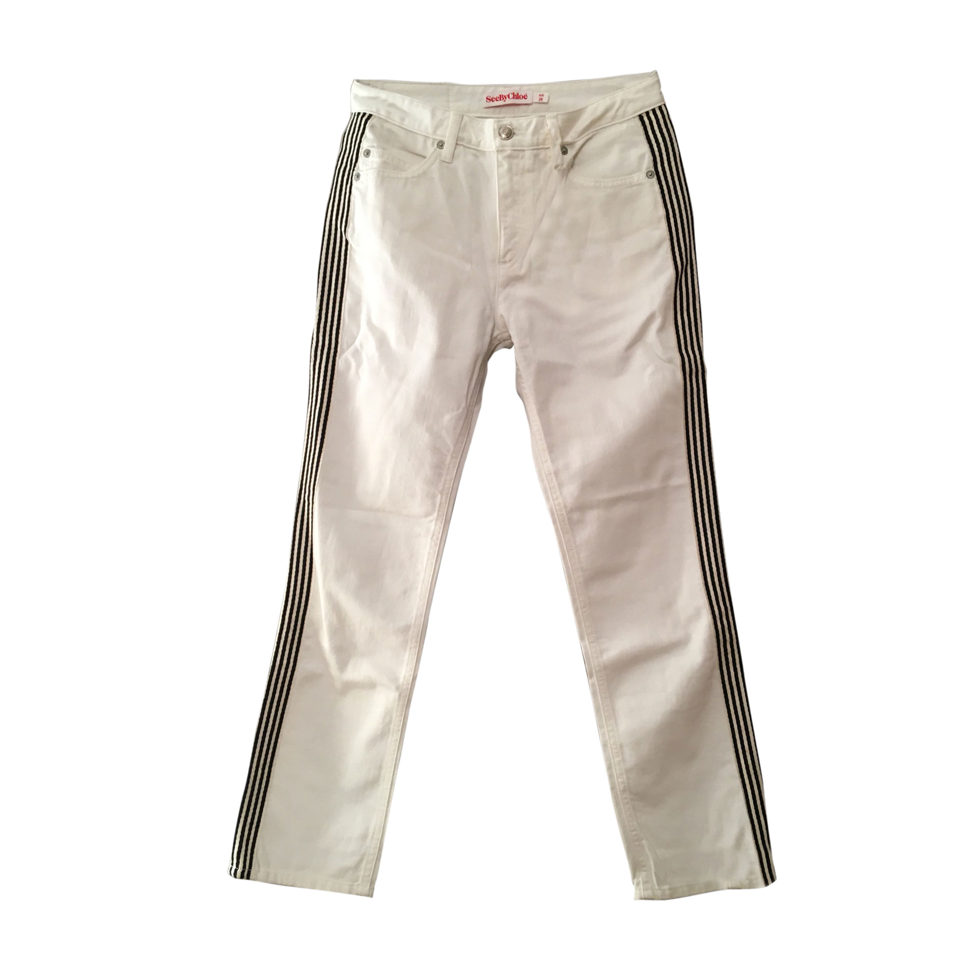 Jeans dritto SEE BY CHLOE Bianco, bianco sporco, ecru