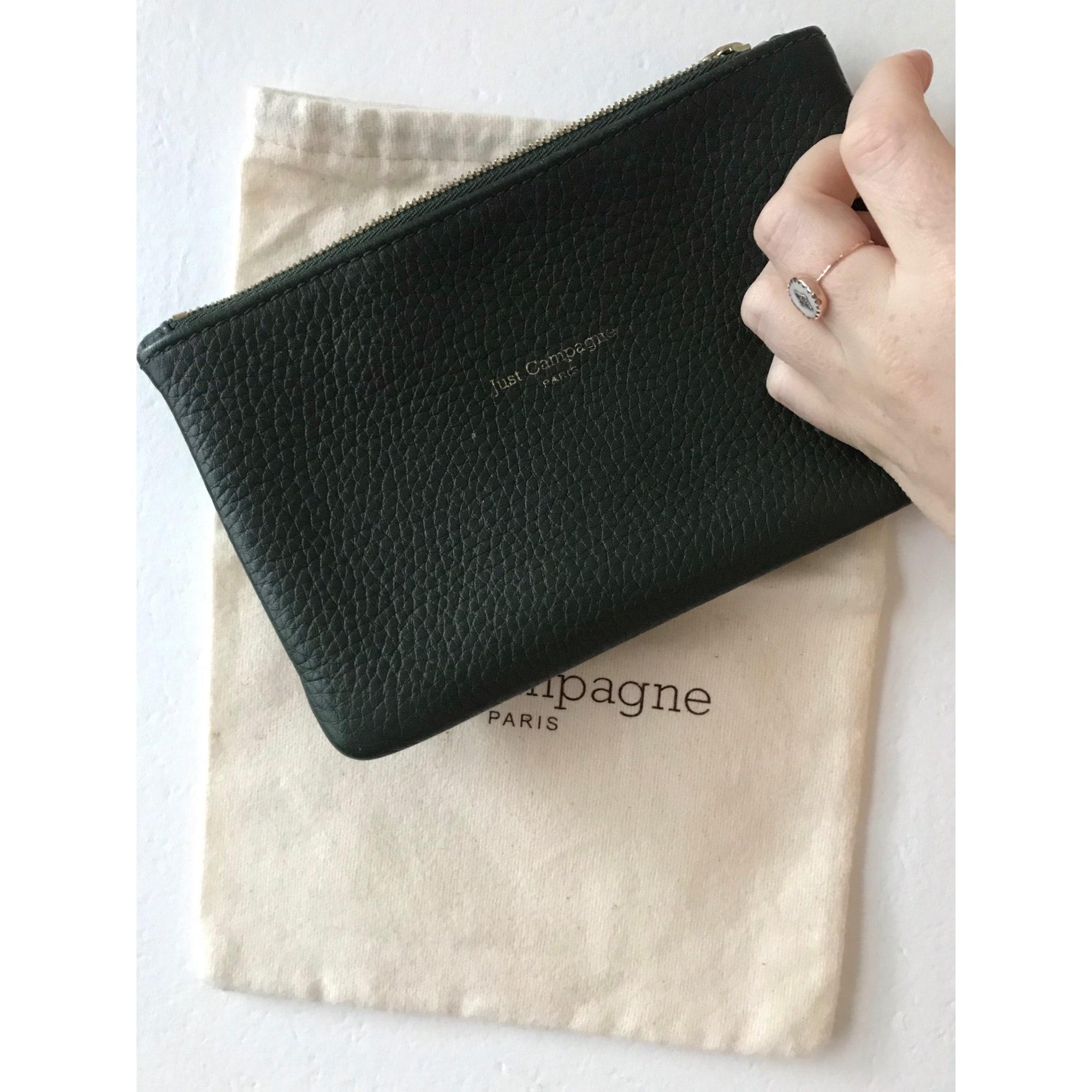 Pochette JUST CAMPAGNE cuir vert