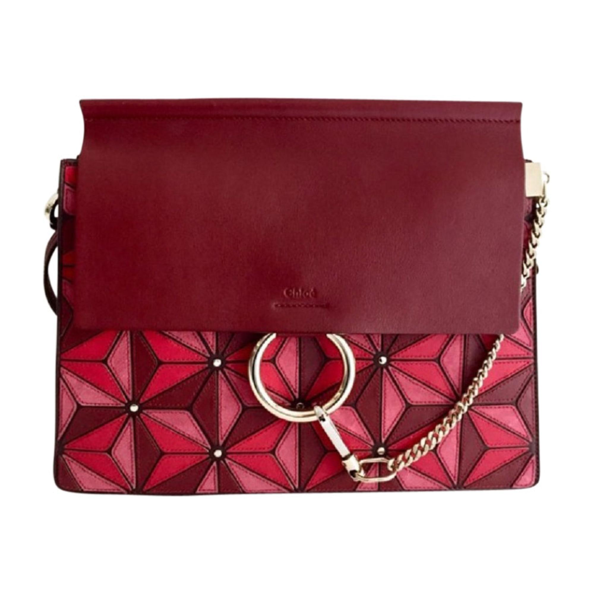 Leather Handbag CHLOÉ Faye Nuances de bordeaux à rosées