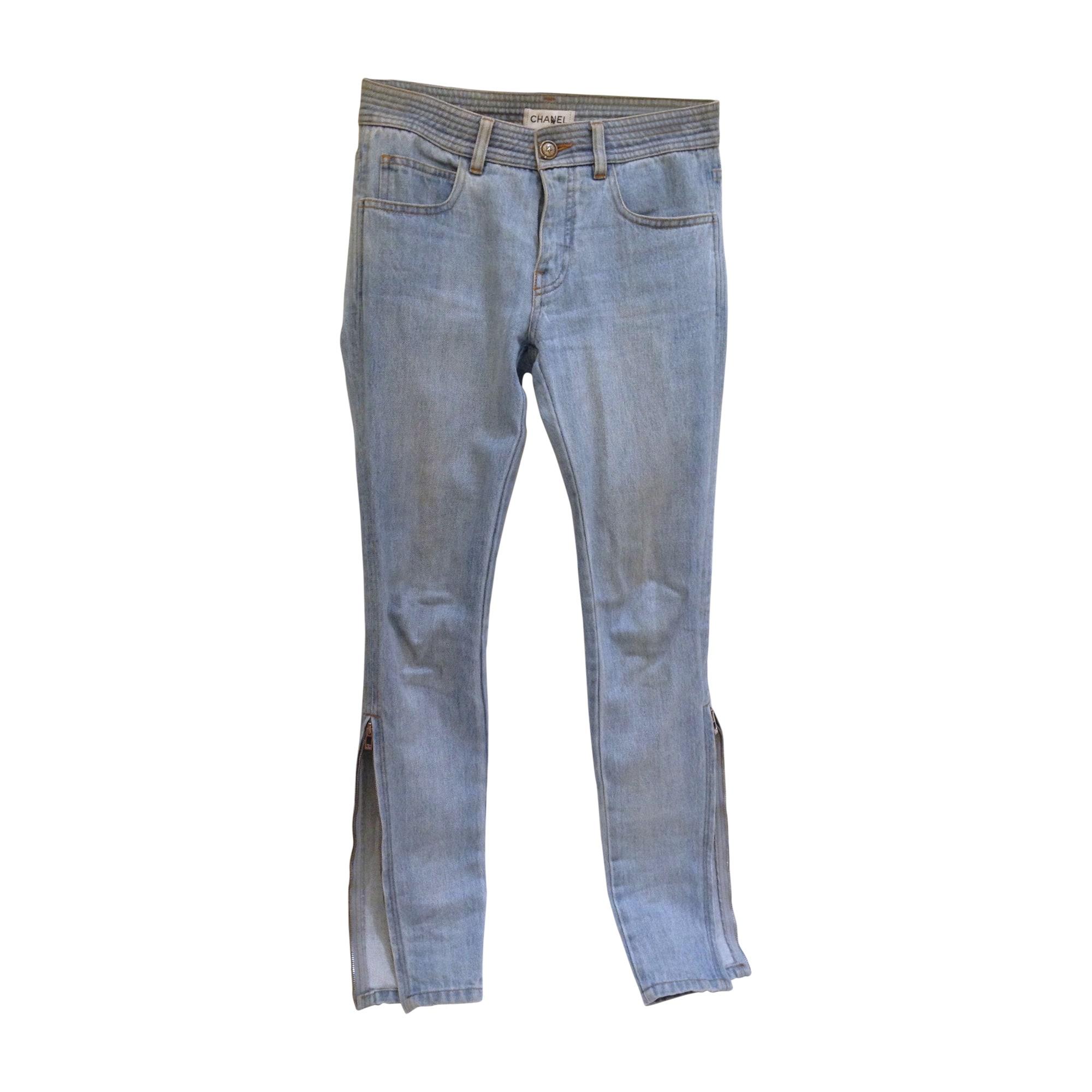 Jeans slim CHANEL Bianco, bianco sporco, ecru
