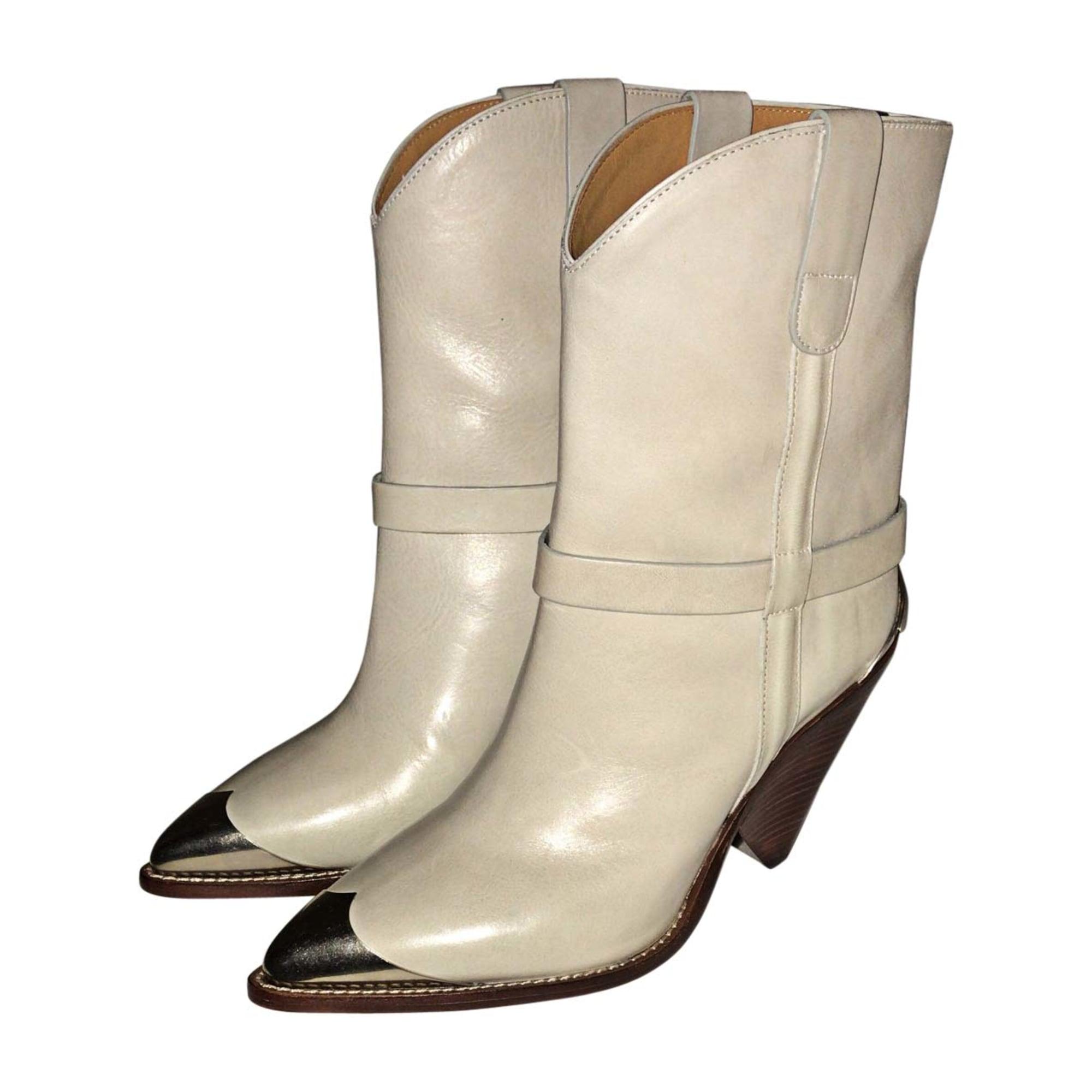 Santiags, bottes cowboy ISABEL MARANT Blanc, blanc cassé, écru