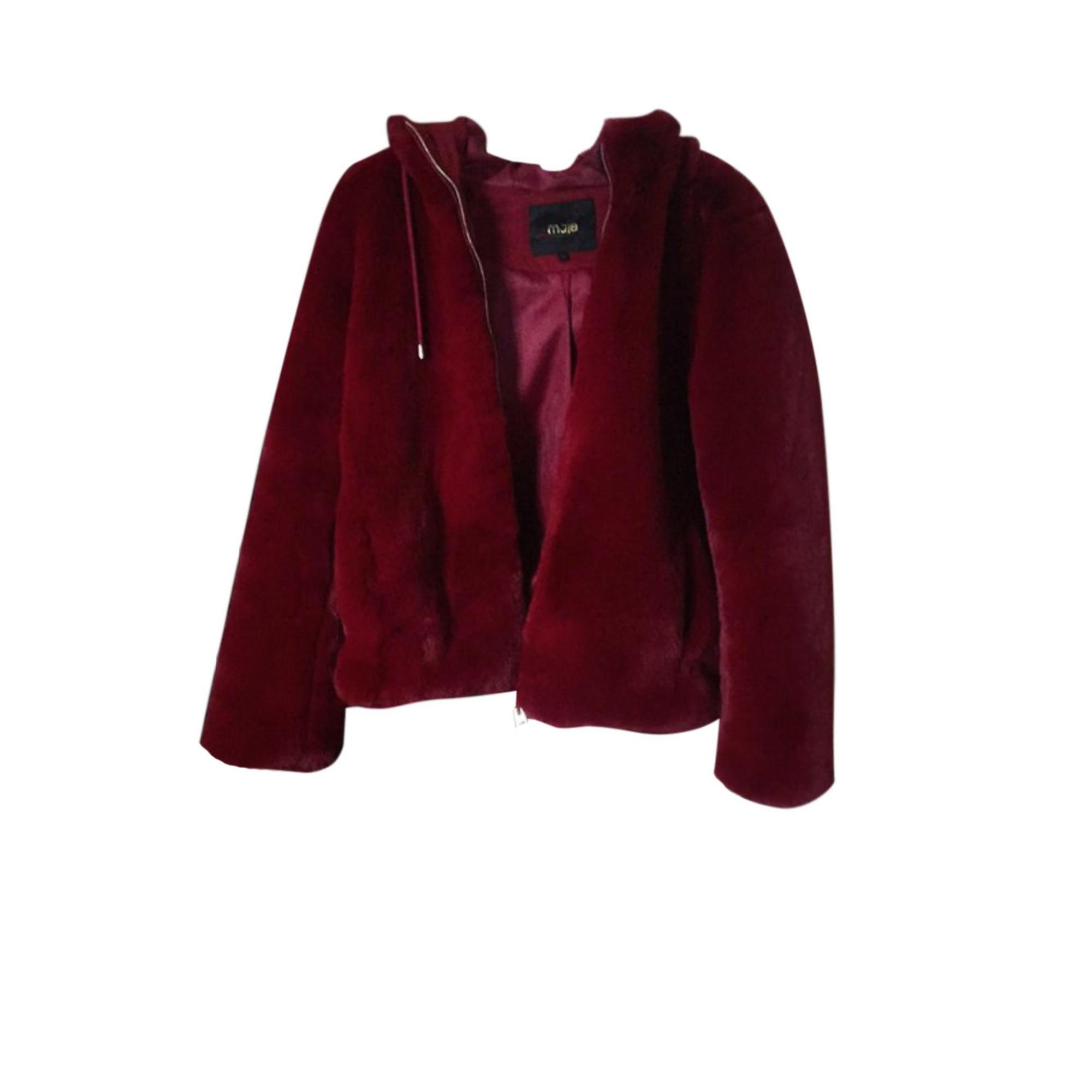 maje manteau rouge faisse fourure