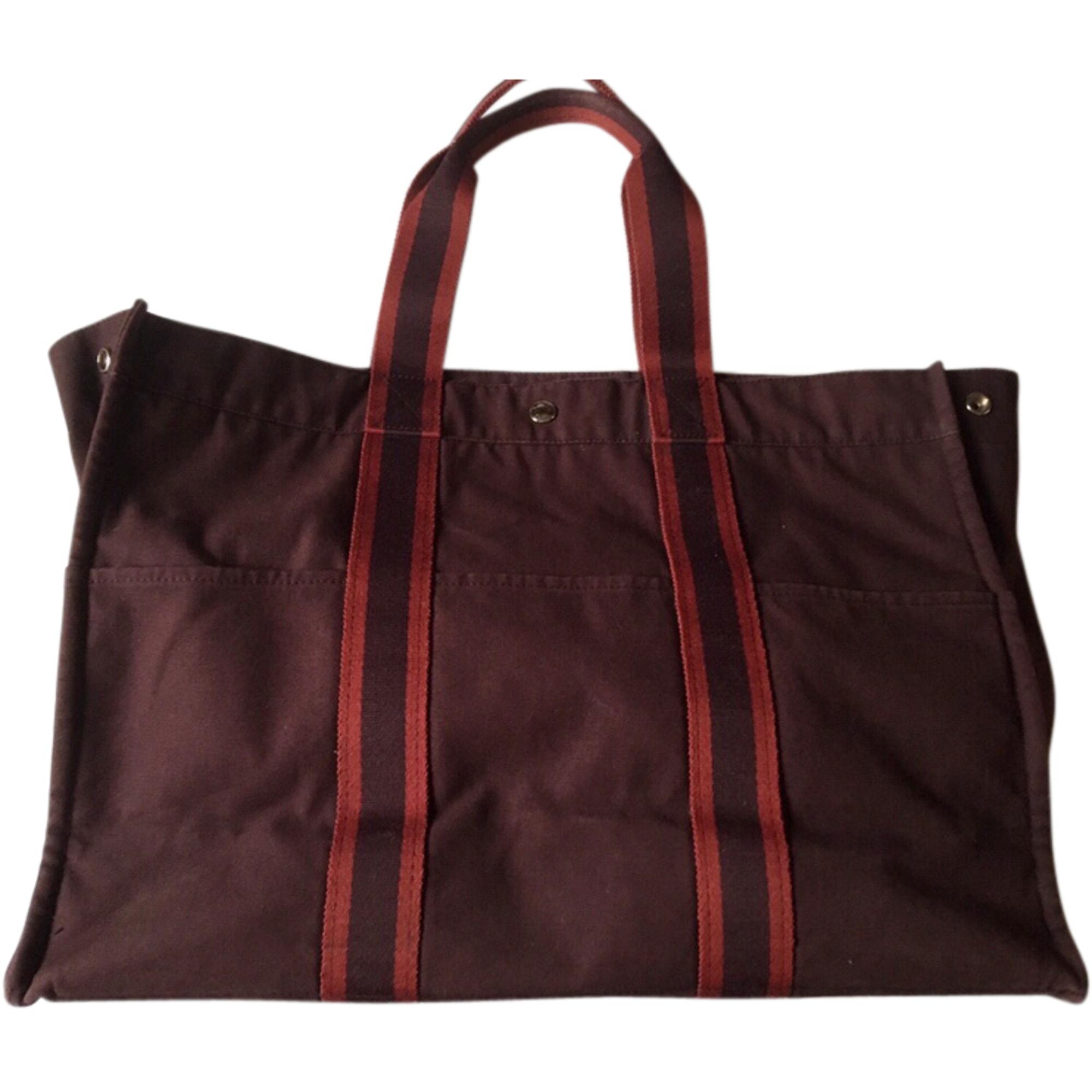 Non-Leather Oversize Bag HERMÈS Bordeaux,Lie de vin