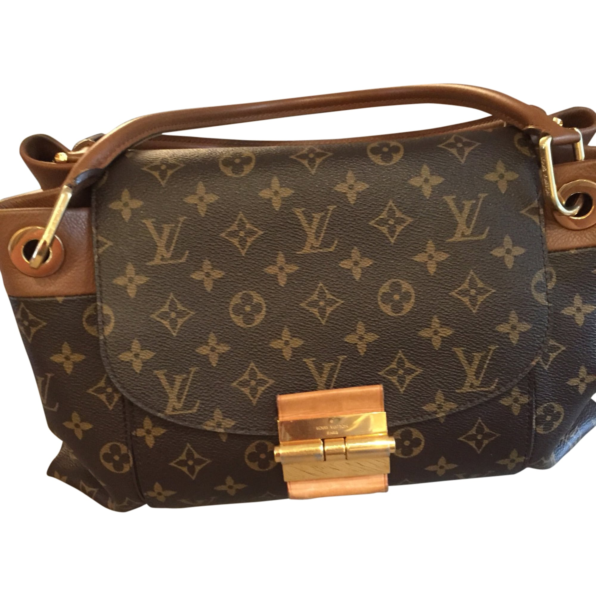 Sac à main en tissu LOUIS VUITTON Marron