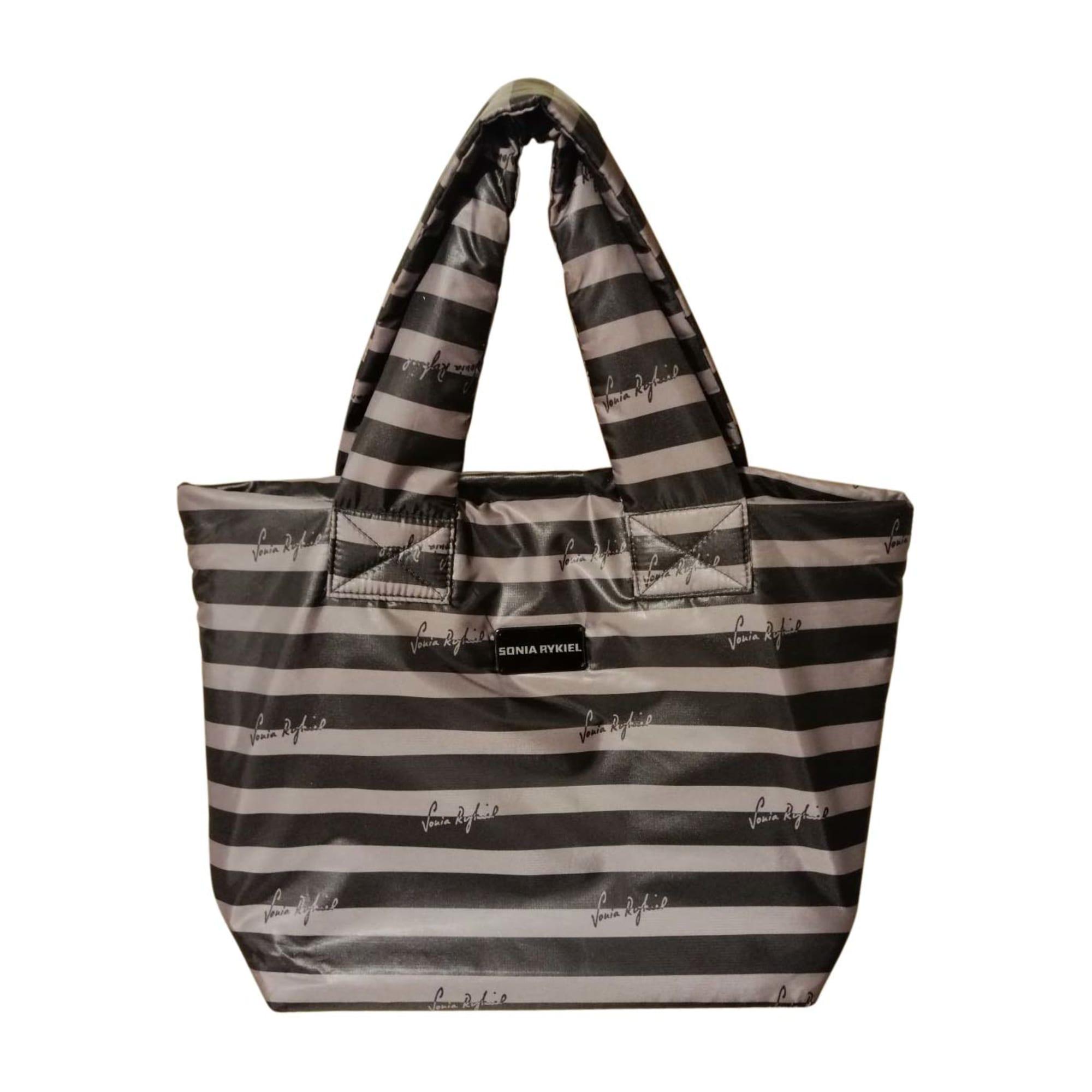 Non-Leather Handbag SONIA RYKIEL rayures taupe/noir
