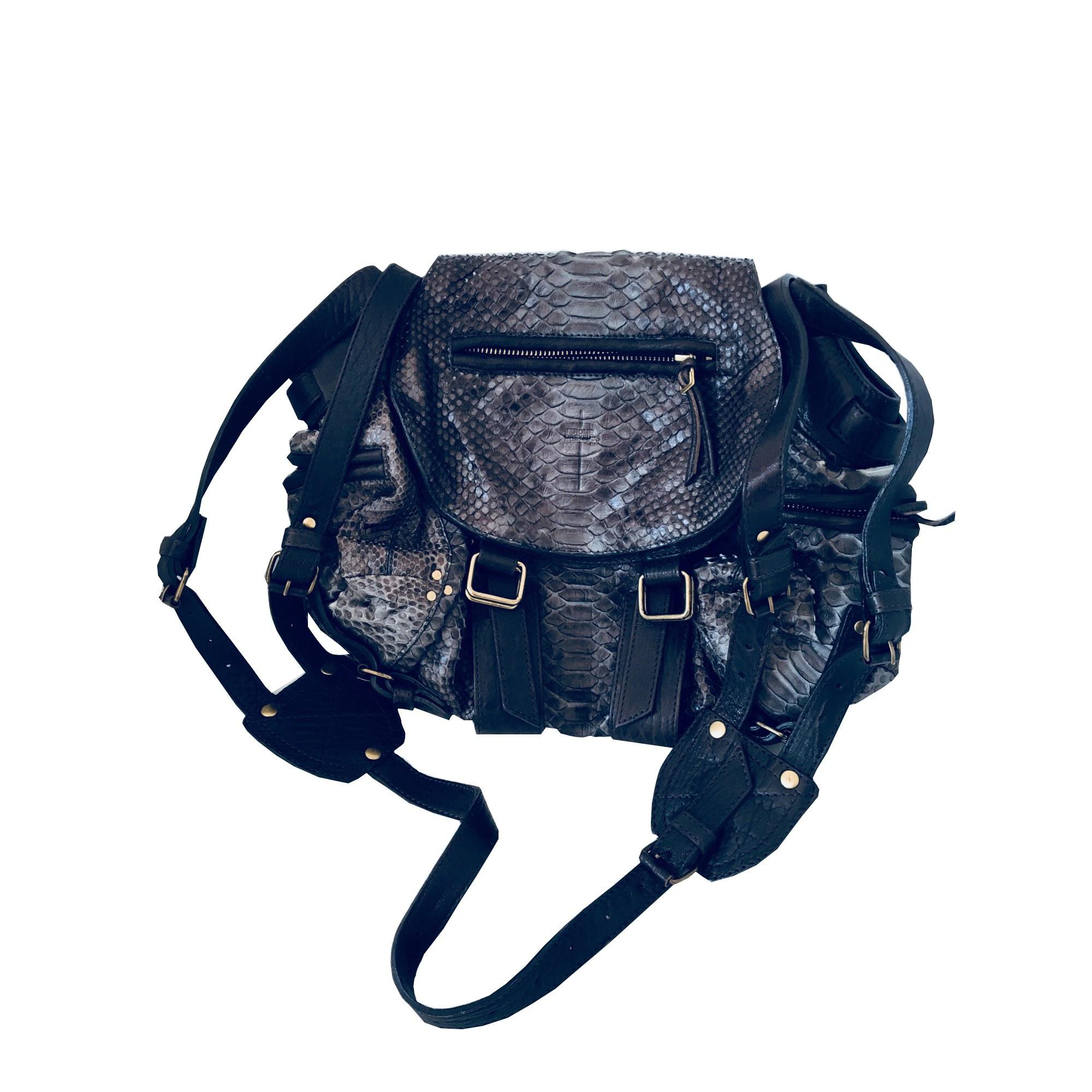 Leather Shoulder Bag JEROME DREYFUSS Gray, charcoal