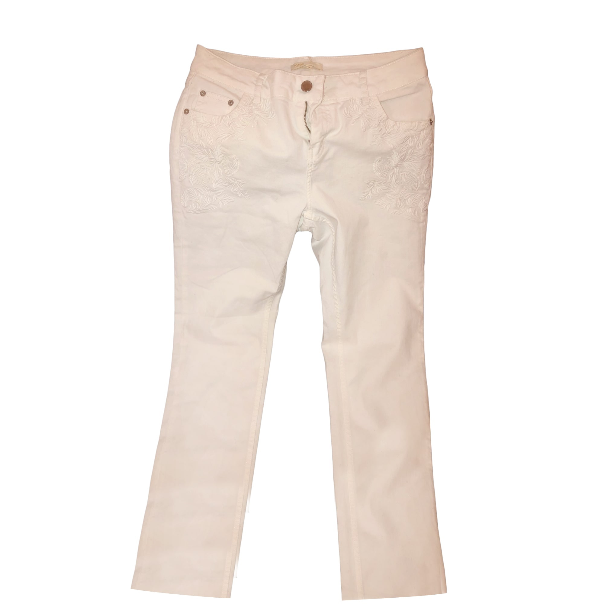 Jeans dritto MAJE Bianco, bianco sporco, ecru