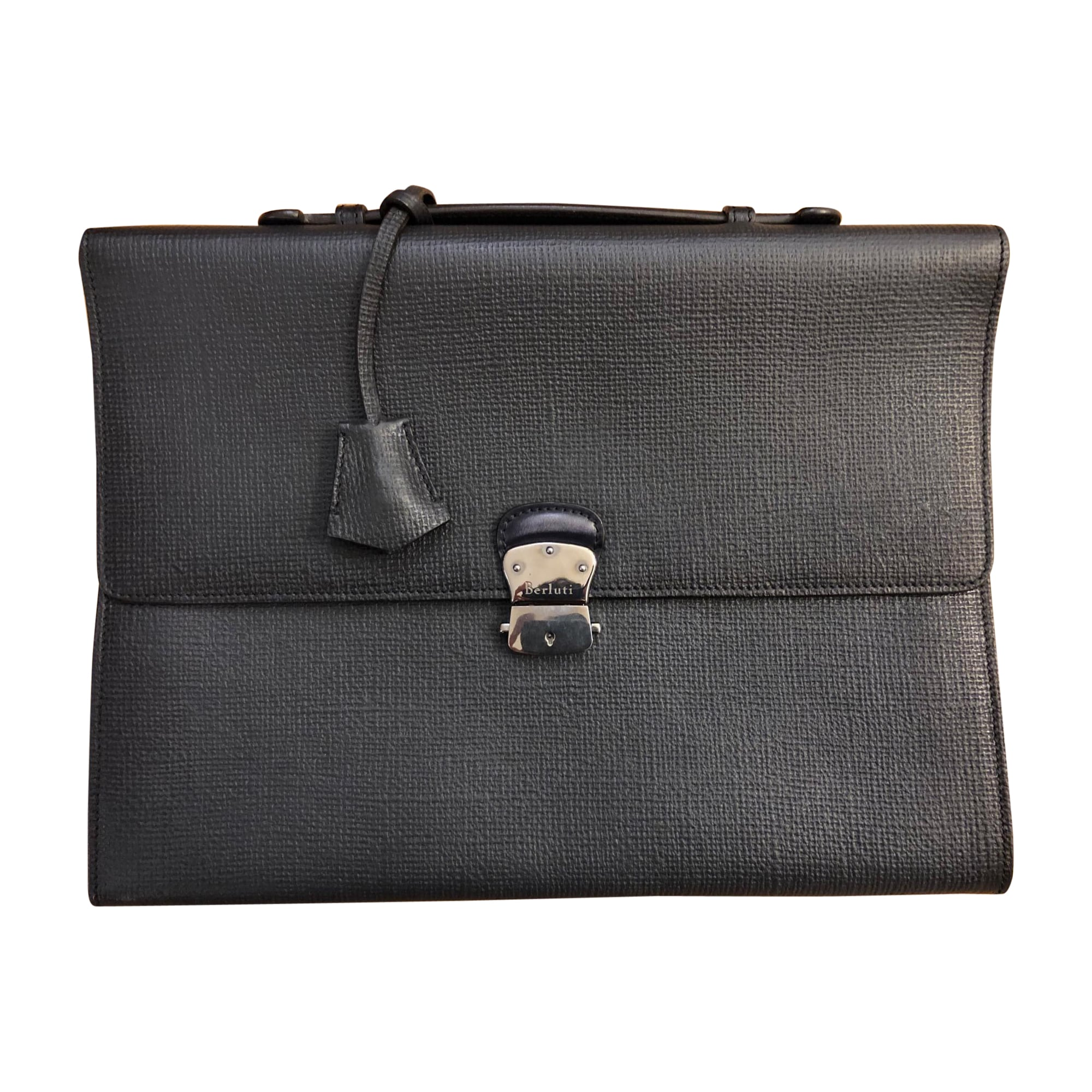 Porte document, serviette BERLUTI cuir gris