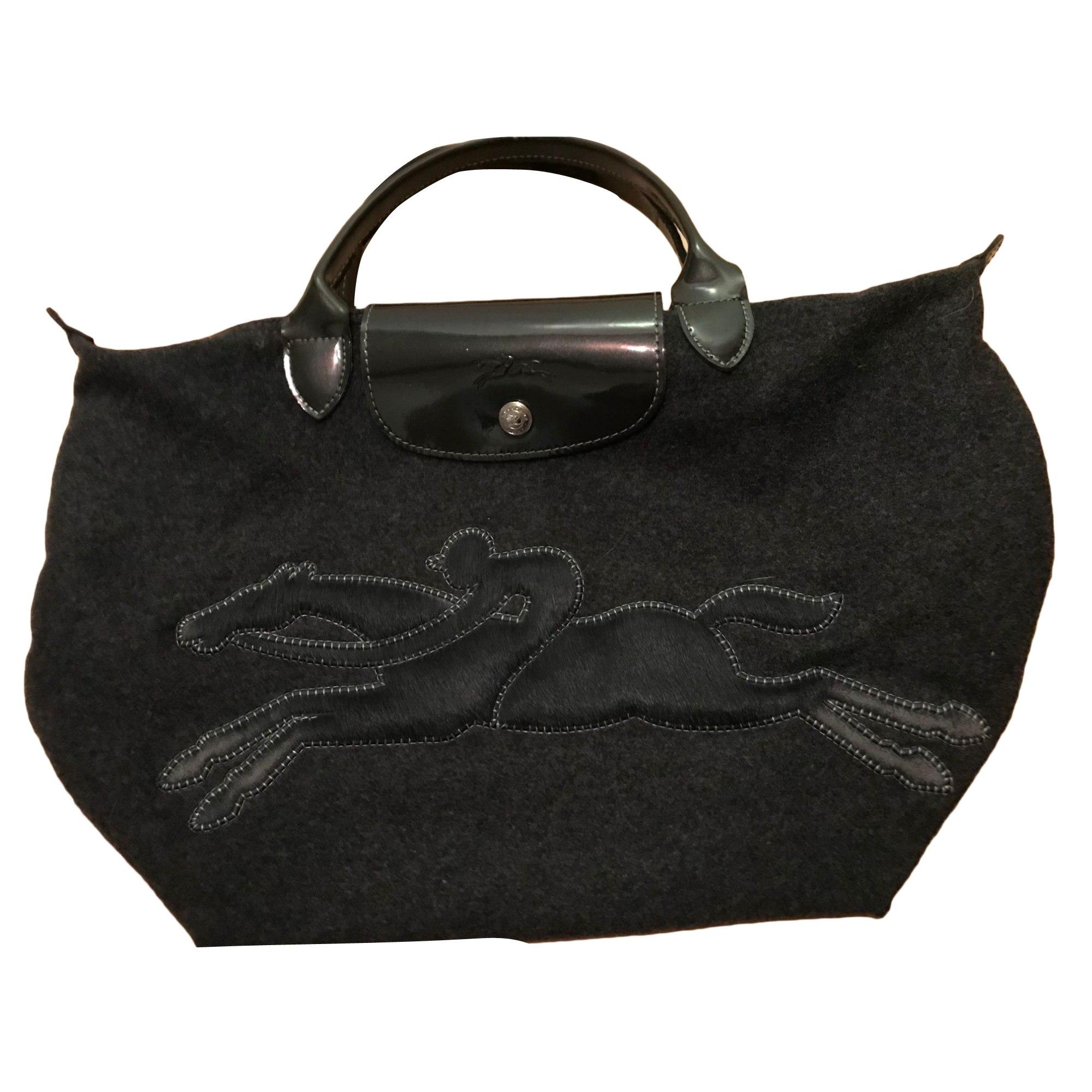 Non-Leather Handbag LONGCHAMP Gray, charcoal