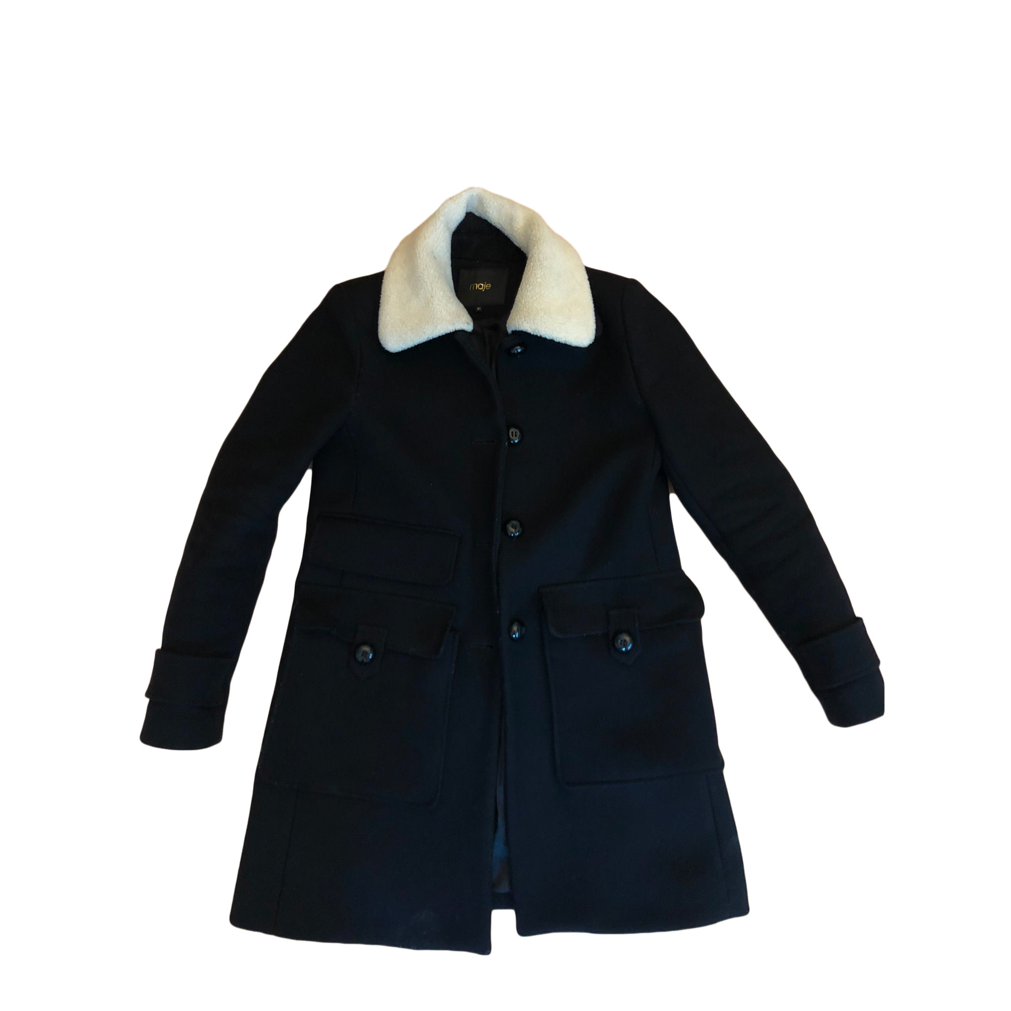 manteau maje col mouton gros boutons
