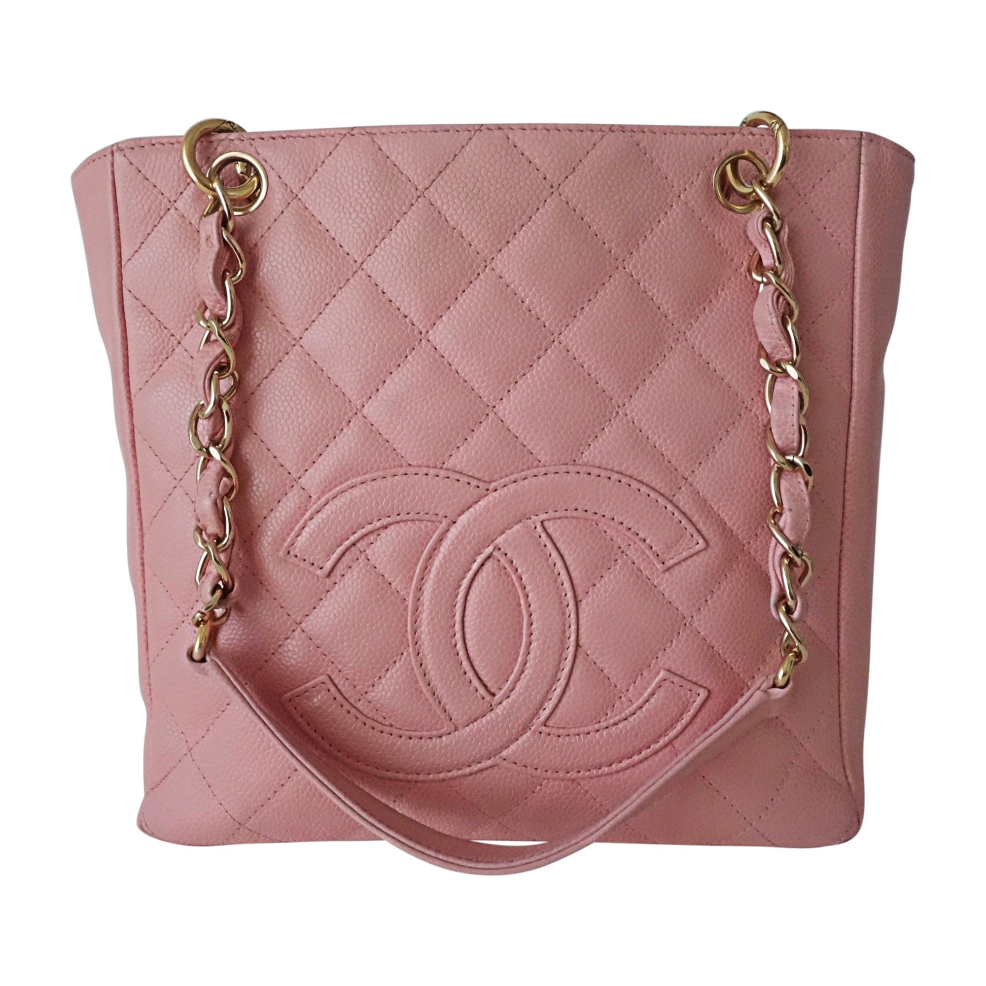 Sac à main en cuir CHANEL Shopping Rose, fuschia, vieux rose