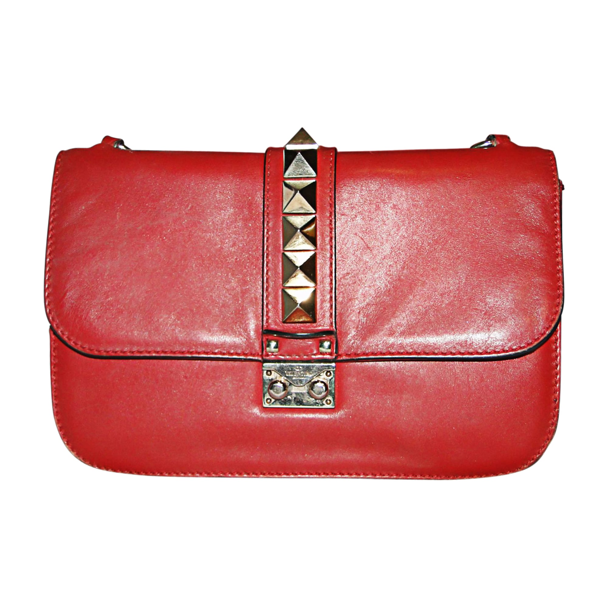Leather Shoulder Bag VALENTINO Glam lock Red, burgundy