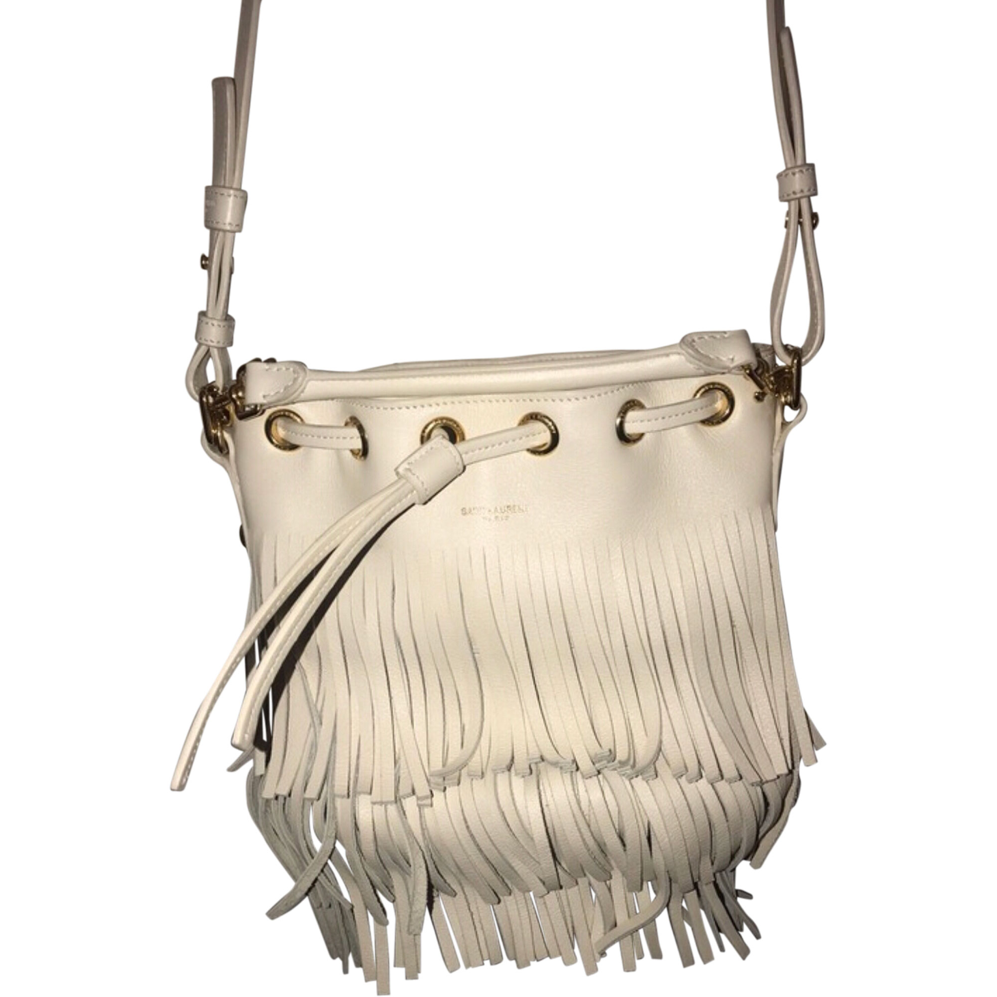Leather Shoulder Bag SAINT LAURENT White, off-white, ecru
