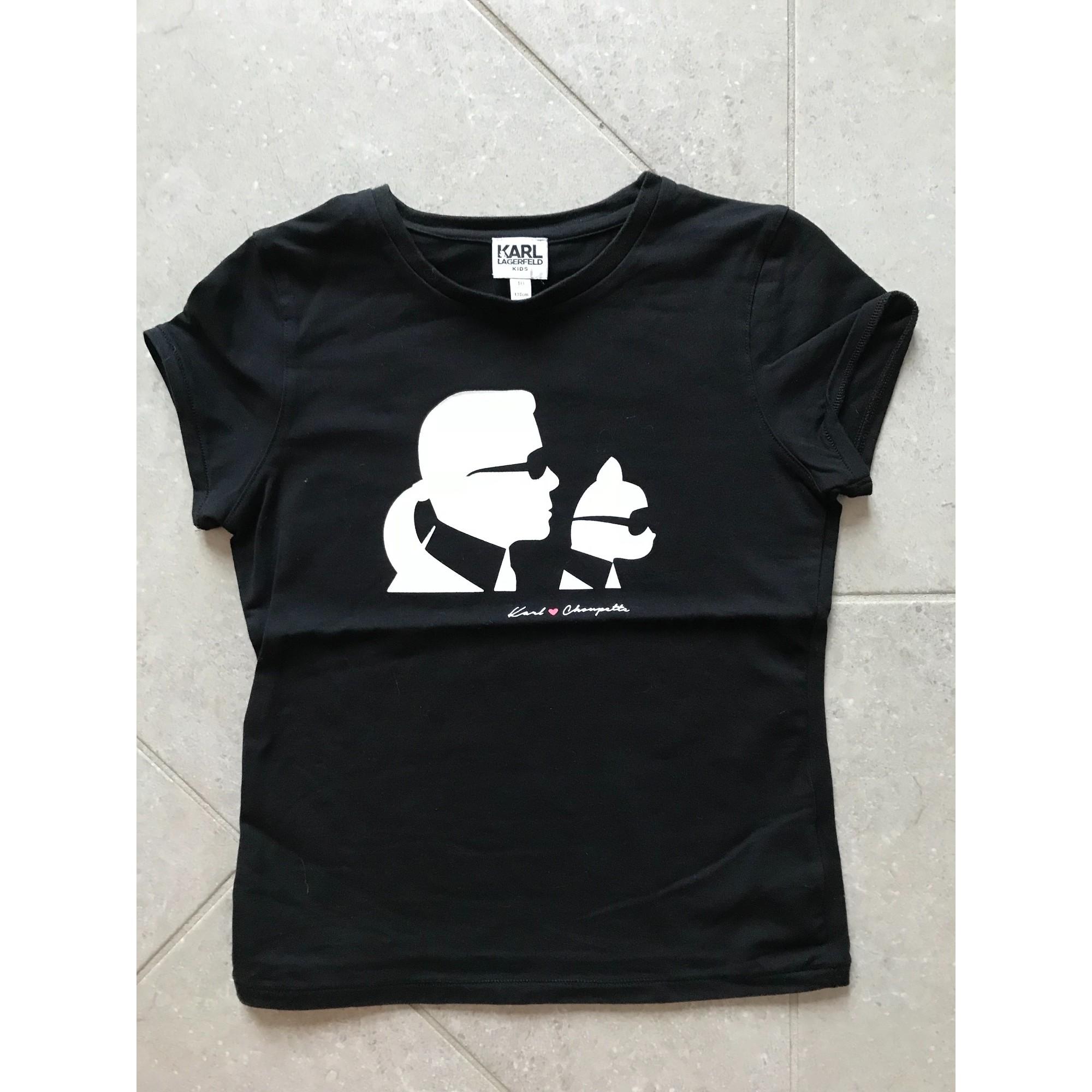Top, Tee-shirt KARL LAGERFELD coton noir 9-10 ans