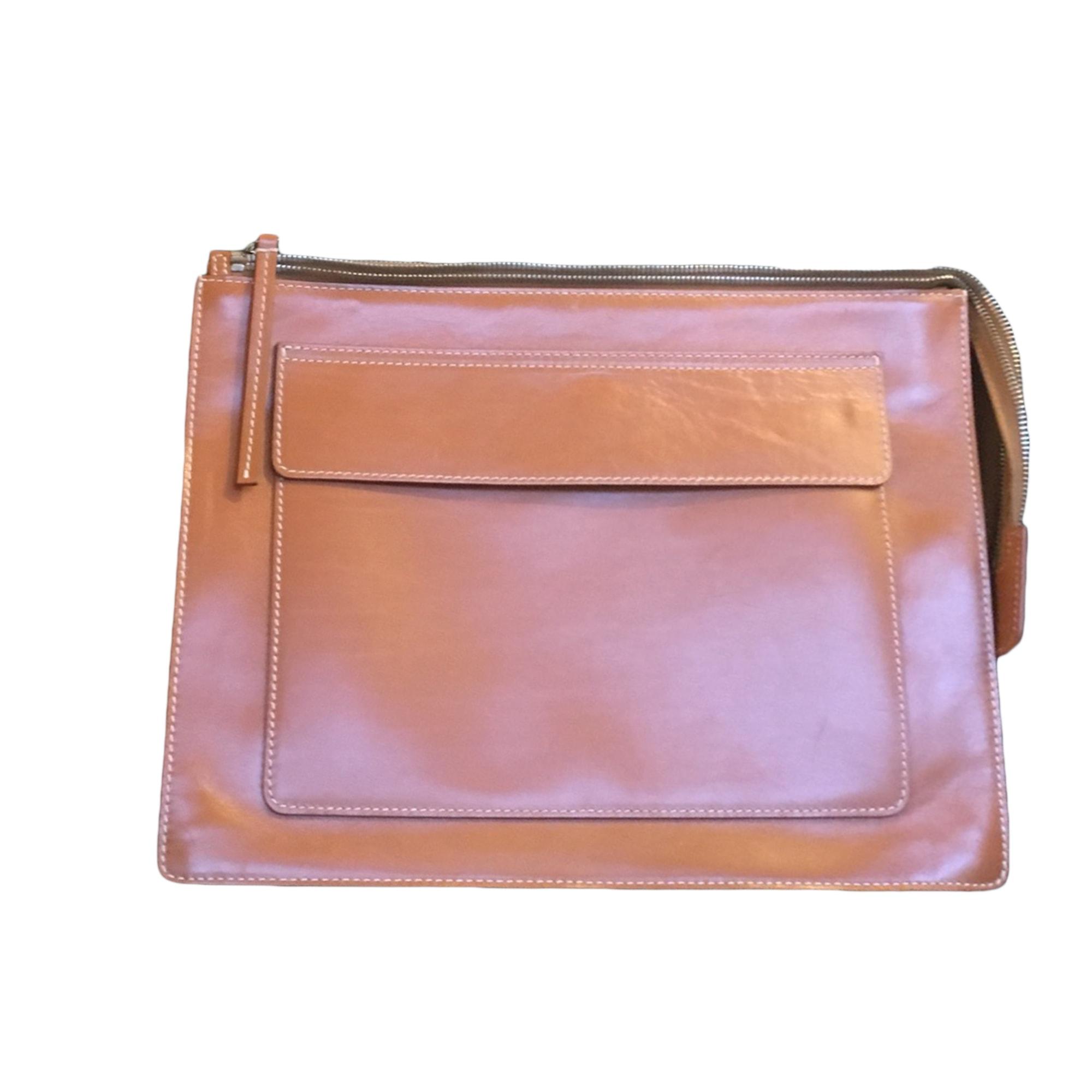 Pochette ACNE cuir marron