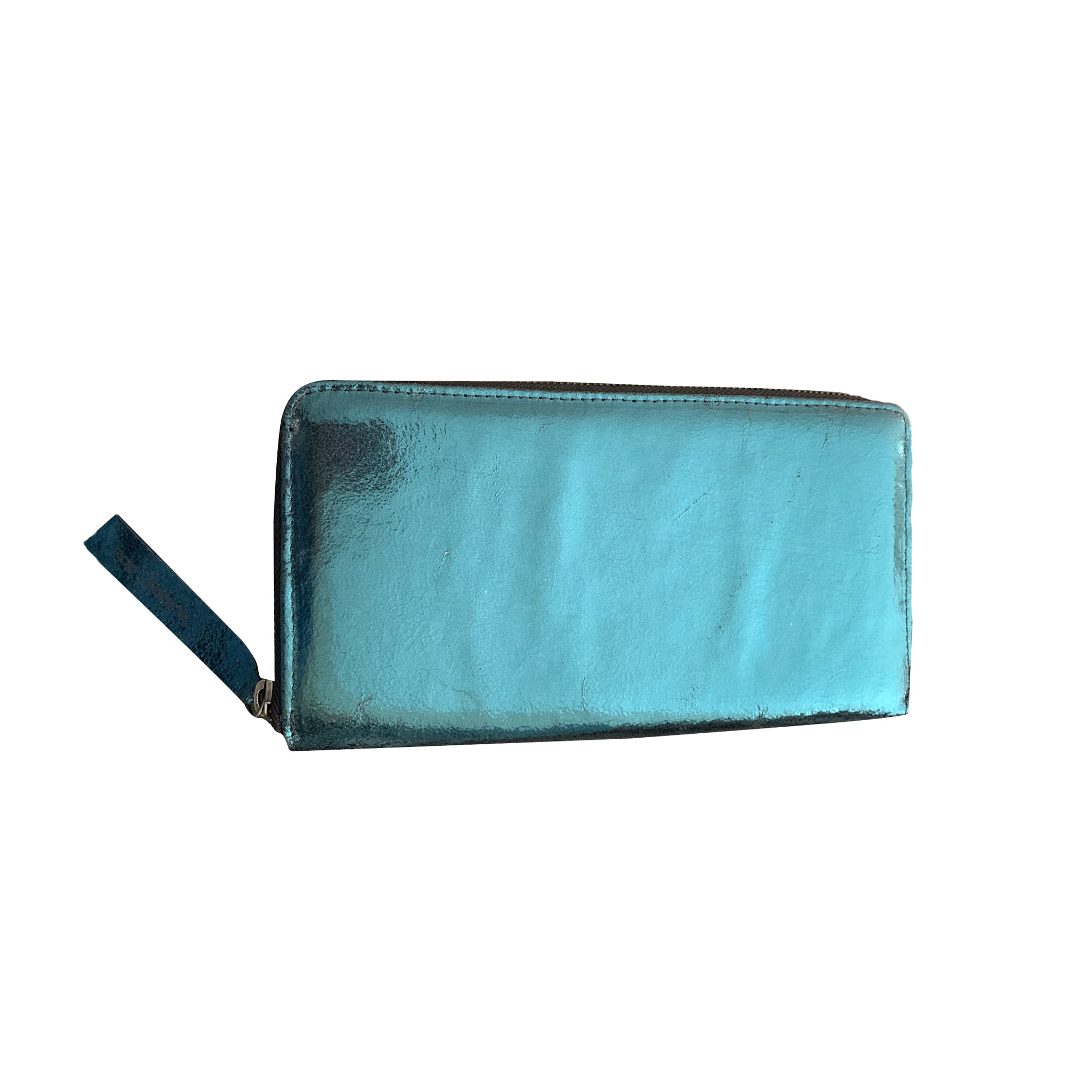 Portefeuille COP-COPINE cuir bleu