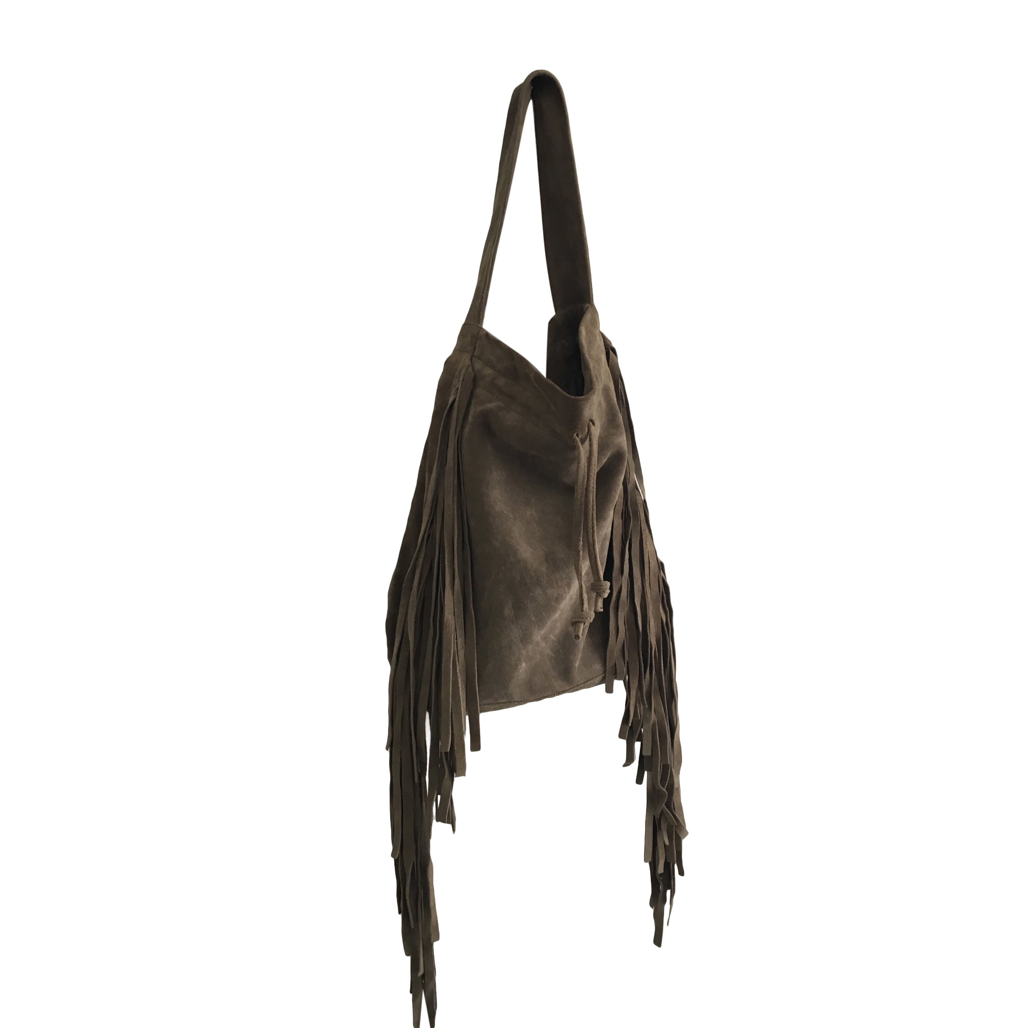 Leather Handbag MAJE Khaki