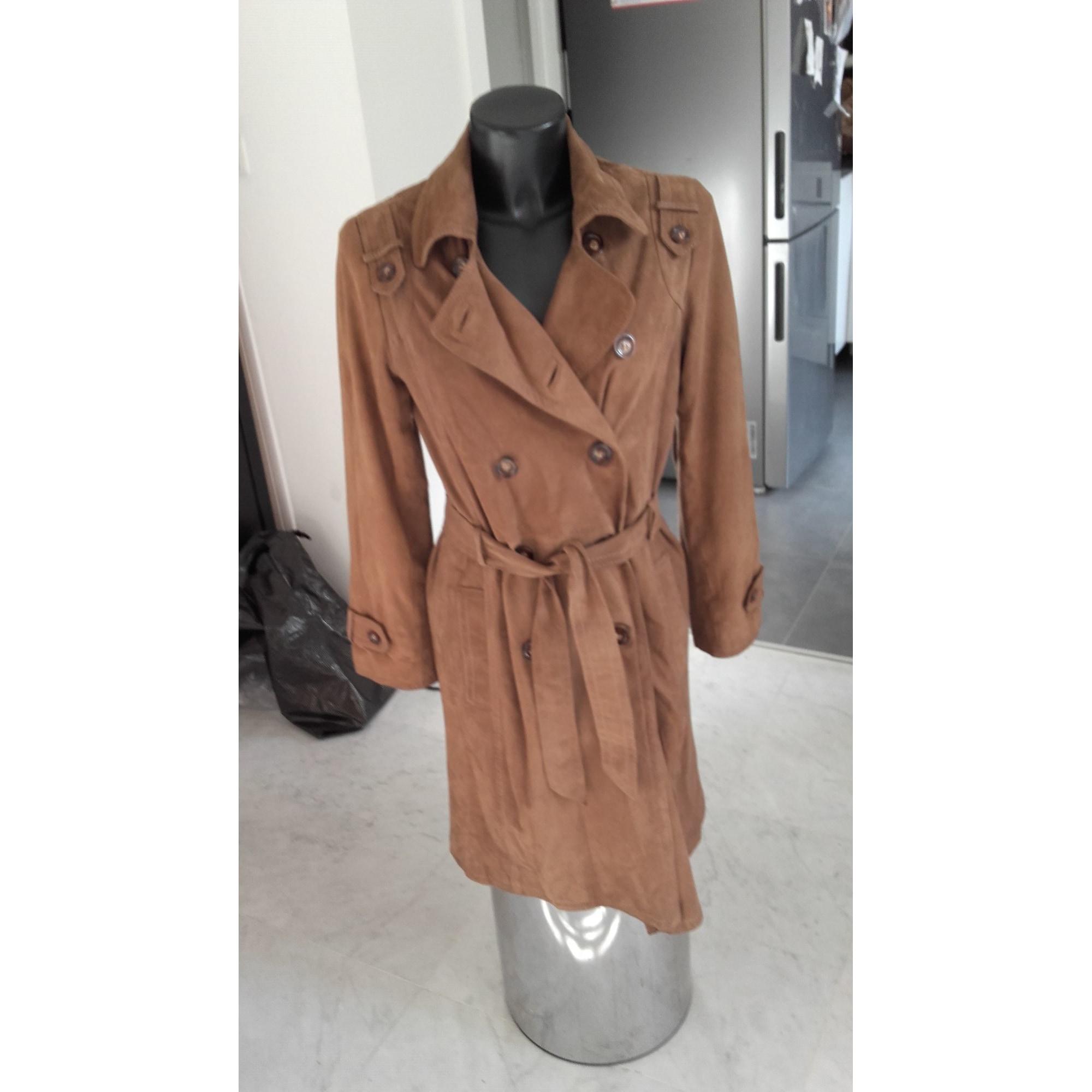 Manteau en cuir CAROLL Beige, camel