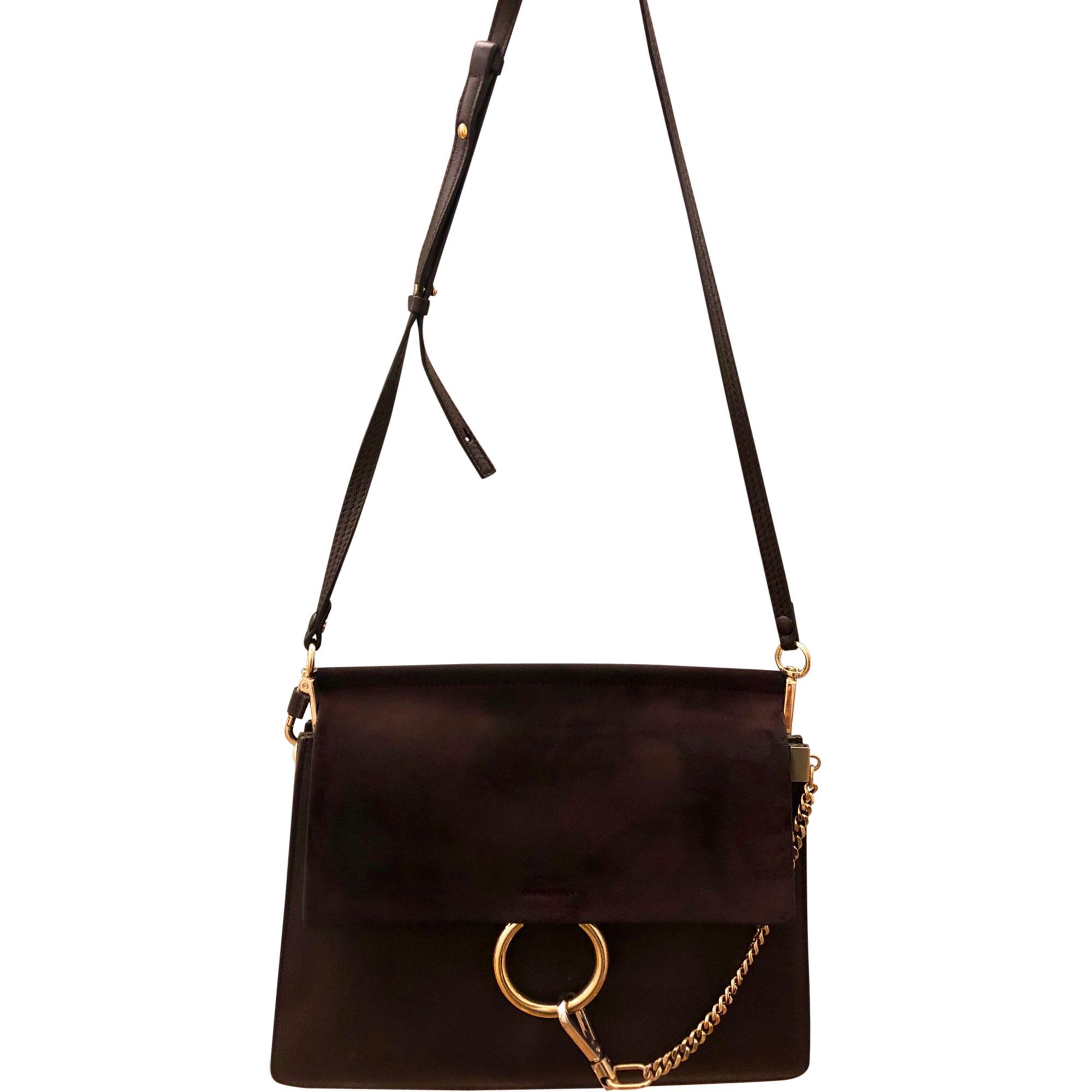 Leather Shoulder Bag CHLOÉ Faye Red, burgundy
