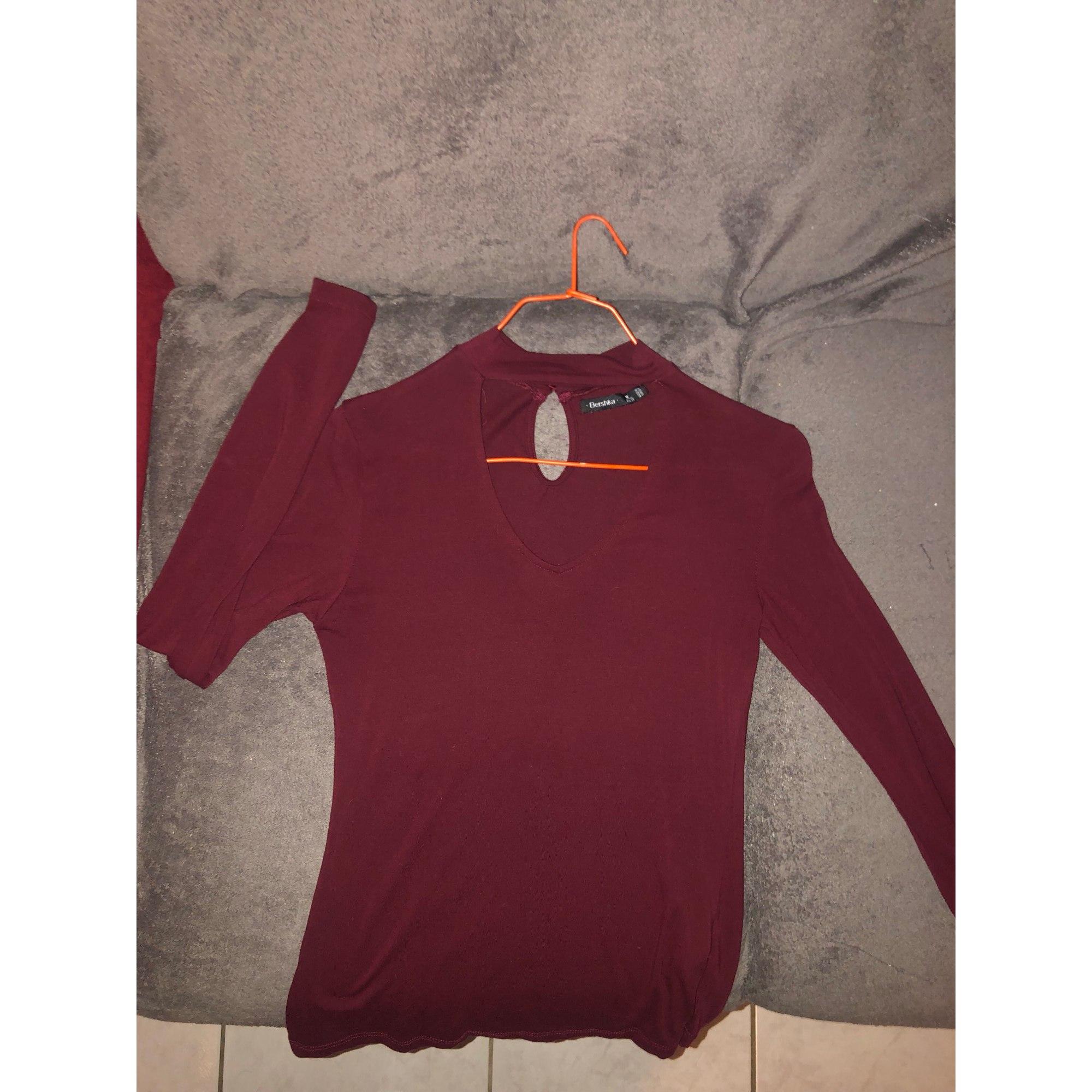 Top, tee-shirt BERSHKA Rouge, bordeaux