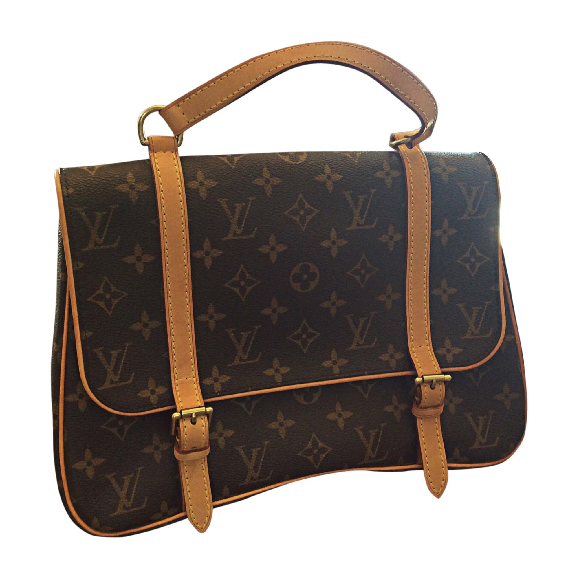 Sac à main en cuir LOUIS VUITTON Marron