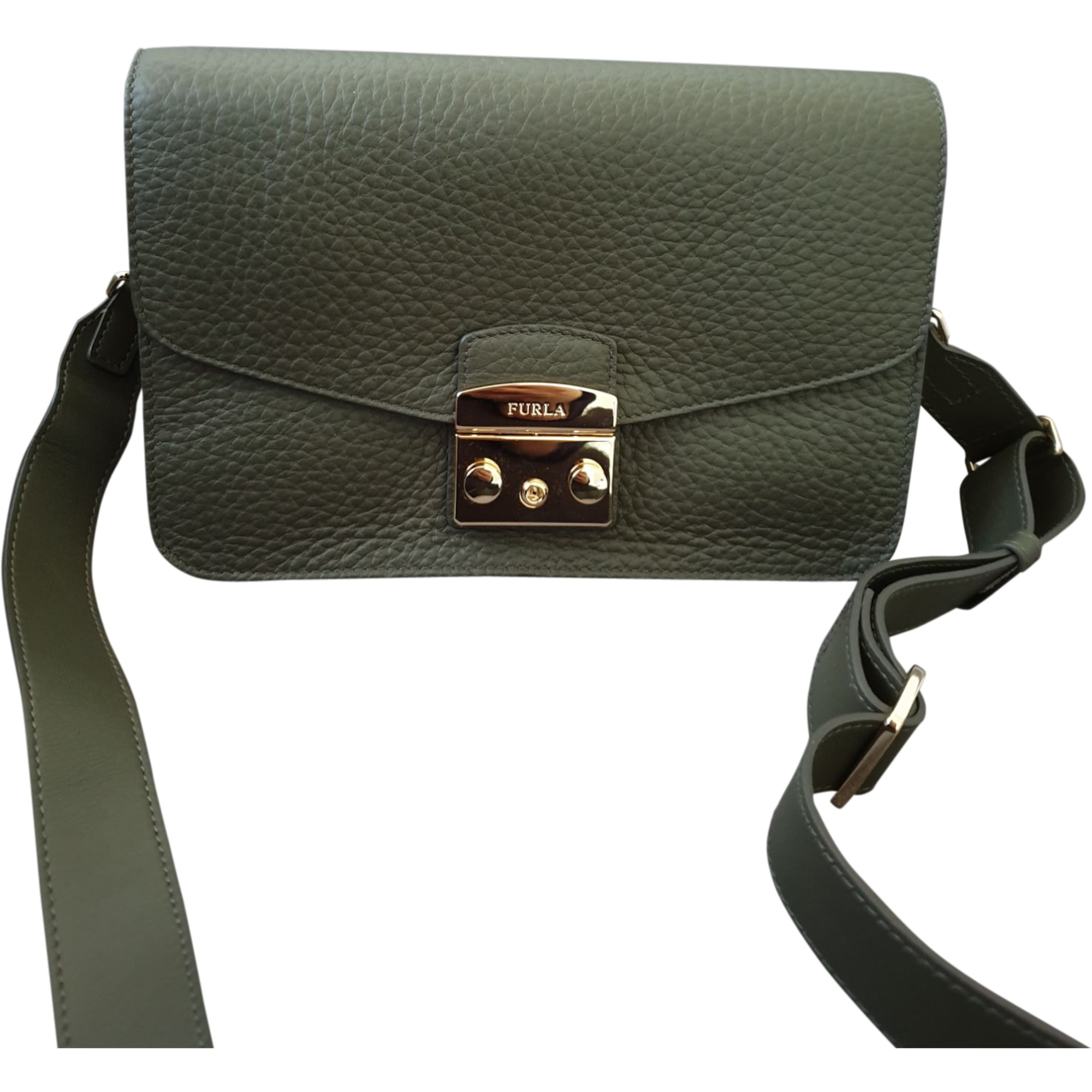 Leather Handbag FURLA Khaki