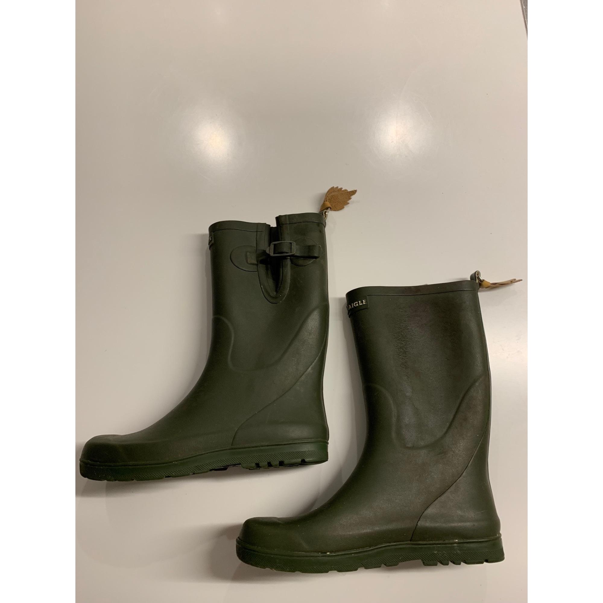Bottes de pluie AIGLE caoutchouc kaki 35
