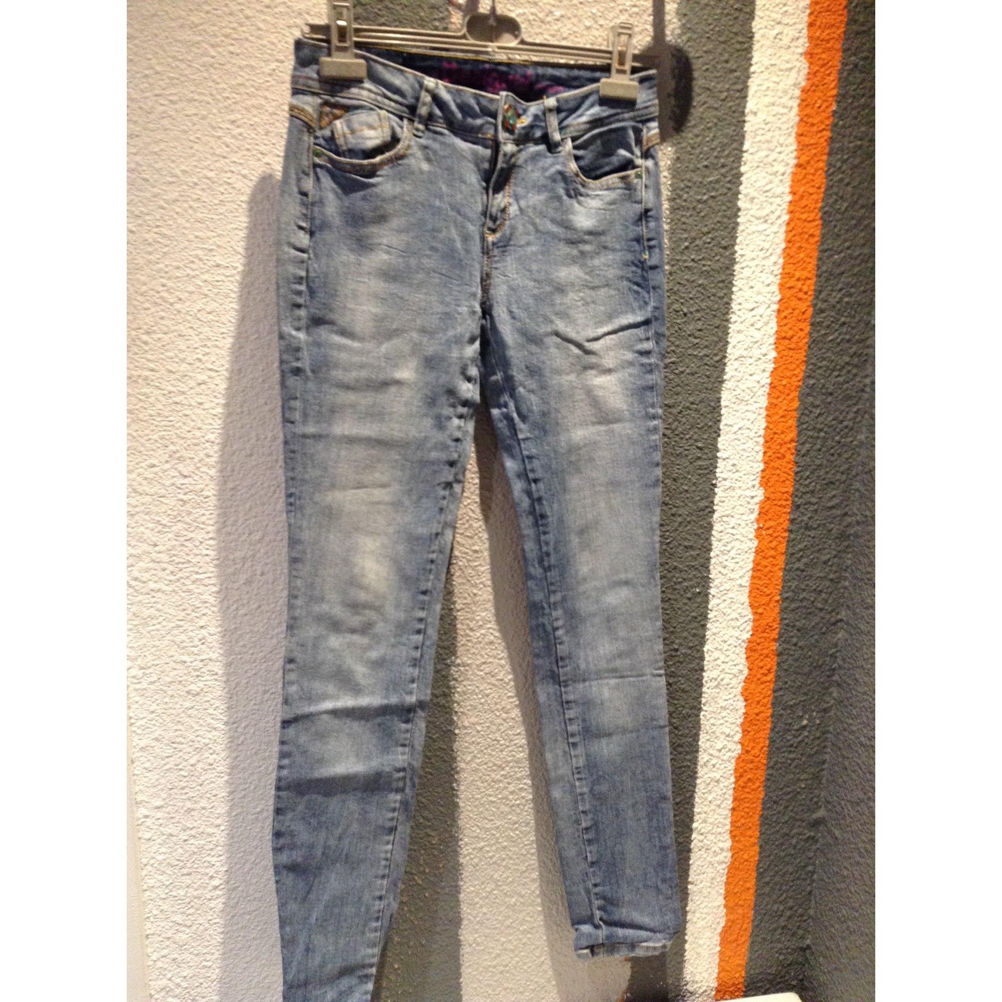 Jeans droit DESIGUAL Bleu, bleu marine, bleu turquoise